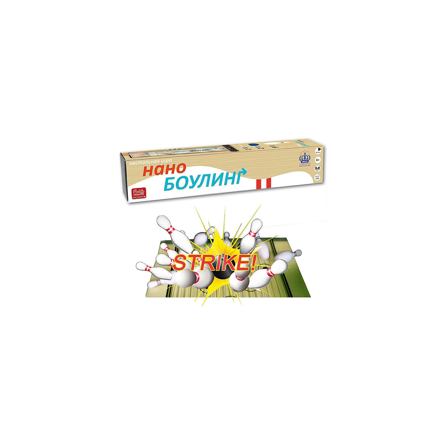 Игра Нано-Боулинг в тубусе, Martinexегкая и веселая настольная игра для любого возраста. Просто разверните дорожку и расставьте 6 кегль в дальнем конце поля. Теперь можно начинать сшибать кегли фишками-шарами. Как и в настоящем боулинге, можно сыграть в несколько быстрых фреймов или же устроить настоящий турнир. Сбитые кегли никуда не улетят - в конце дорожка снабжена магнитной полосой, с помощью которой к ней крепится коробка от игры. Получается что-то вроде ворот, которые собирают сбитые кегли и шары, вылетающие за дорожку. Можно играть в командах или набирать очки в индивидуальном зачете. Для ведения счета по бокам дорожки сделана специалная таблица, которую нужно заполнять стирающимся маркером для доски whiteboard (в комплекте!). После игры просто сотрите записи и начинайте снова! В комплекте: Игровое поле 120х35см, 6 кегль, 2 мяча, маркер для ведения счета, Правила игры на русском языке.<br><br>Время игры: 15 минут<br>Количество игроков: 2-4<br><br>Ширина мм: 70<br>Глубина мм: 360<br>Высота мм: 70<br>Вес г: 500<br>Возраст от месяцев: 60<br>Возраст до месяцев: 1188<br>Пол: Унисекс<br>Возраст: Детский<br>SKU: 4297010