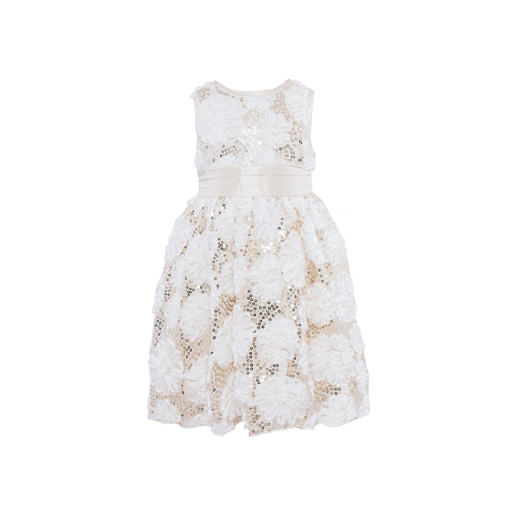 Платье Sweet BerryНарядное платье из фактурной сетки. Сетка расшита лентами в виде цветов и золотистыми пайетками. Пояс из тафты завязывается сзади на бант. Платье на молнии сзади.<br>Состав:<br>Верх: 100% полиэстер, Подкладка: 100% хлопок<br><br>Ширина мм: 236<br>Глубина мм: 16<br>Высота мм: 184<br>Вес г: 177<br>Цвет: бежевый<br>Возраст от месяцев: 24<br>Возраст до месяцев: 36<br>Пол: Женский<br>Возраст: Детский<br>Размер: 122,98,116,110,128,104<br>SKU: 4299445