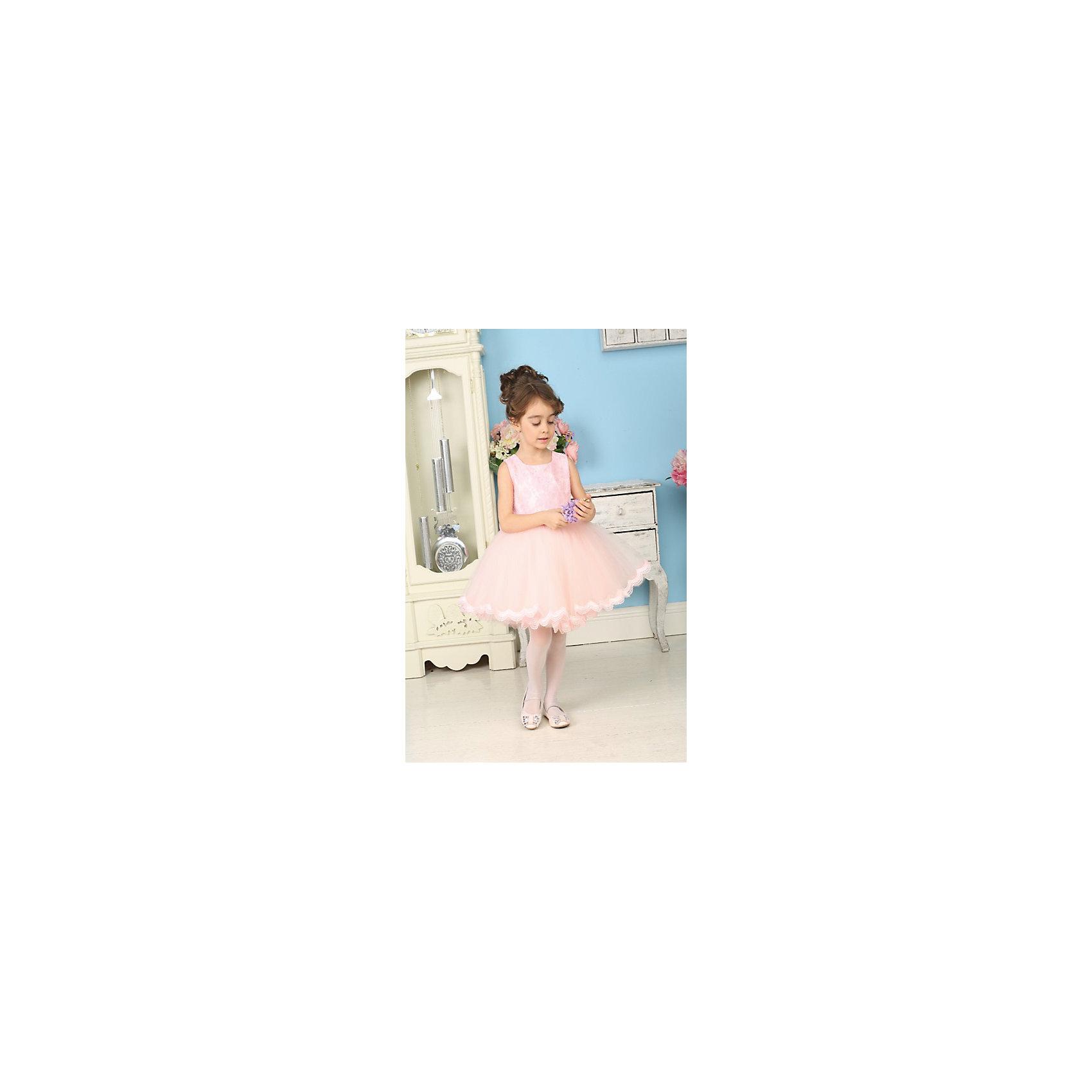 Нарядное платье для девочки Sweet BerryОдежда<br>Нарядное воздушное платье для маленьких принцесс. Верх платья покрыт нежным кружевом. Юбка выполнена в виде пачки из многослойной сетки, по низу юбка украшена кружевом нежно-персикового цвета. Платье застегивается на молнию на спинке. Сзади платье украшено красивым кружевным бантом. Бант съемный.<br>Состав:<br>верх- 100% полиэстер, подклад-100% хлопок<br><br>Ширина мм: 236<br>Глубина мм: 16<br>Высота мм: 184<br>Вес г: 177<br>Цвет: розовый<br>Возраст от месяцев: 72<br>Возраст до месяцев: 84<br>Пол: Женский<br>Возраст: Детский<br>Размер: 122,104,128,116,110,98<br>SKU: 4299480