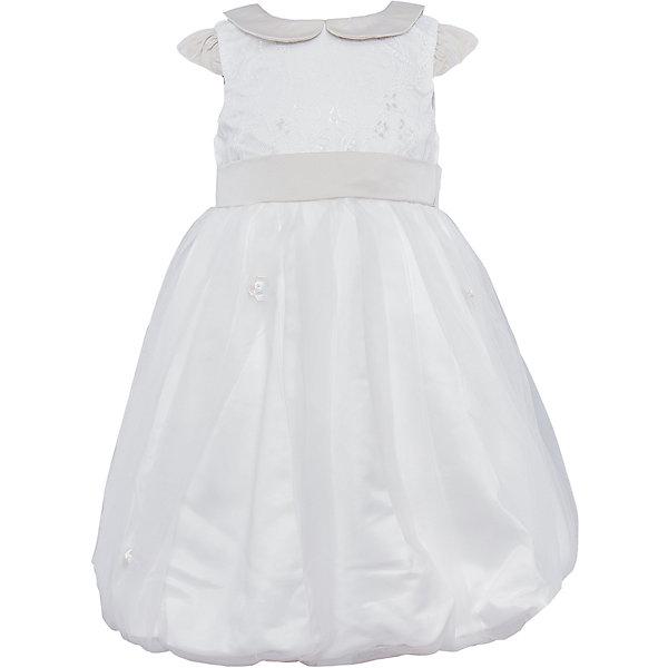 Платье Sweet BerryОдежда<br>Нарядное платье из комбинированной ткани. Лиф и нижняя часть юбки из атласа. Лиф дополнен кружевом. Рукава-крылышки присборенные у основания, воротничок и пояс выполнены из атласа молочного оттенка. Юбка собрана в пышную сборку. Воротничок расшит вручную жемчугом. Платье застегивается на молнию на спинке.<br>Состав:<br>Верх: 100% полиэстер, Подкладка: 100% хлопок<br>Ширина мм: 236; Глубина мм: 16; Высота мм: 184; Вес г: 177; Цвет: белый; Возраст от месяцев: 60; Возраст до месяцев: 72; Пол: Женский; Возраст: Детский; Размер: 116,128,110,98,122,104; SKU: 4299508;