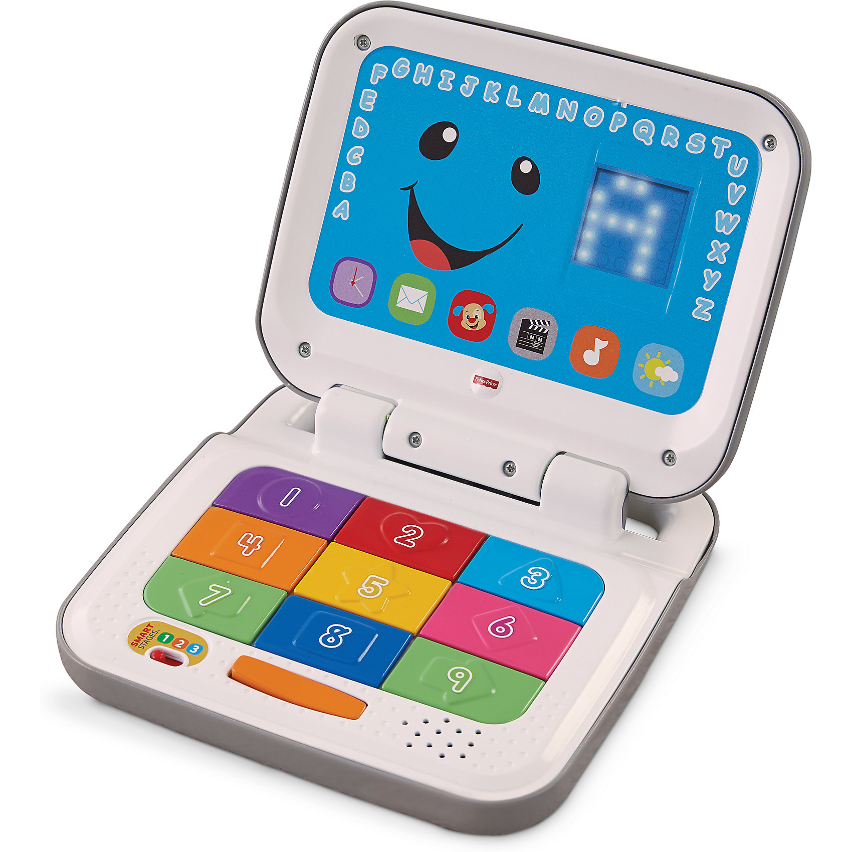 Обучающий ноутбук с технологией Smart Stages, Fisher PriceОбучающий ноутбук с технологией Smart Stages, Fisher Price - увлекательная развивающая игрушка, которая не даст Вашему ребенку заскучать и поможет освоить множество новых знаний. Яркий ноутбук с разноцветными кнопочками обладает множеством обучающих функций и программ. Его уникальная особенность - это технология Smart Stages, позволяющая выбирать развивающую программу в зависимости от возраста и знаний малыша. По мере роста малыша уровень обучающих материалов усложняется. Всего в игрушке имеется 3 уровня, поменять которые можно с помощью переключателя: Уровень 1 (6 месяцев и старше) - изучаем (первые слова и фразы), Уровень 2 (12 месяцев и старше) - побуждаем (вопросы служат малышу подсказками), Уровень 3 (18 месяцев и старше) - притворяемся (развитие воображения через веселые ролевые игры). <br><br>Ребенок может играть в игры на воображение, нажимая на клавиши или отправляя электронную почту. Нажимая на девять разноцветных кнопок и клавишу пробел, ребенок услышит песни и фразы о буквах, цифрах, цветах и многом другом. А открывая и закрывая крышку можно услышать антонимы. Во время игры на светодиодном экране возникают интересные картинки и узоры. Также в ноутбуке более 30 разнообразных веселых песен, мелодий и фраз, разбитых по трем уровням. Ноутбук имеет компактные размеры и оснащен удобной ручкой для переноски, что позволяет брать его с собой на прогулки и в поездки. <br><br>Дополнительная информация:<br><br>- Материал: пластик.<br>- Требуются батарейки: 2 х 1,5V АА (в комплекте демонстрационные).<br>- Возраст: 6 - 36 мес.<br>- Размер игрушки: 32 х 20 х 2,5 см.<br>- Размер упаковки: 33 x 24 x 6 см.<br>- Вес: 0,67 кг.<br><br>Обучающий ноутбук с технологией Smart Stages, Fisher Price, можно купить в нашем интернет-магазине.<br><br>Ширина мм: 330<br>Глубина мм: 240<br>Высота мм: 60<br>Вес г: 769<br>Возраст от месяцев: 6<br>Возраст до месяцев: 24<br>Пол: Унисекс<br>Возраст: Детский<br>SKU: 4302729