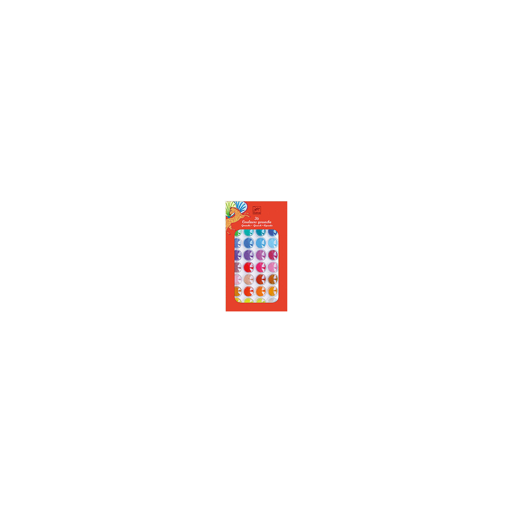 Гуашь, 36 цветов, DJECOГуашь<br>Гуашь, 36 цветов, DJECO (ДЖЕКО) – это прекрасный набор качественной гуаши для рисования.<br>Гуашь от французской компании Djeco (Джеко) – это великолепный набор для творчества из 36 цветов и кисточки для рисования. Он станет замечательным подарком для начинающего художника. Пластиковая крышка имеет специальные выемки, что очень удобно для смешивания различных цветов. Богатая палитра оттенков открывает перед детьми широкое поле для фантазии. Рисунки будут получаться яркими и насыщенными. Краска сделана на водной основе из натуральных ингредиентов, легко наносится как на бумагу, так и на картон, быстро сохнет. Рисование - это одно из самых любимых занятий детей. Рисуя, ребенок открывает для себя неизведанный мир формы и цвета, развивает воображение и фантазию. В рисунок трансформируются мысли ребенка и его чувства. Развивается мелкая моторика, а значит и речевой аппарат, логическое мышление; ребенок учится аккуратности, терпению, усидчивости.<br><br>Дополнительная информация:<br><br>- В наборе: гуашь 36 цветов, кисточка<br>- Размер упаковки: 28 х 15 х 2 см.<br>- Вес: 130 гр.<br><br>Гуашь, 36 цветов, DJECO (ДЖЕКО) можно купить в нашем интернет-магазине.<br><br>Ширина мм: 280<br>Глубина мм: 150<br>Высота мм: 20<br>Вес г: 130<br>Возраст от месяцев: 24<br>Возраст до месяцев: 72<br>Пол: Унисекс<br>Возраст: Детский<br>SKU: 4305757