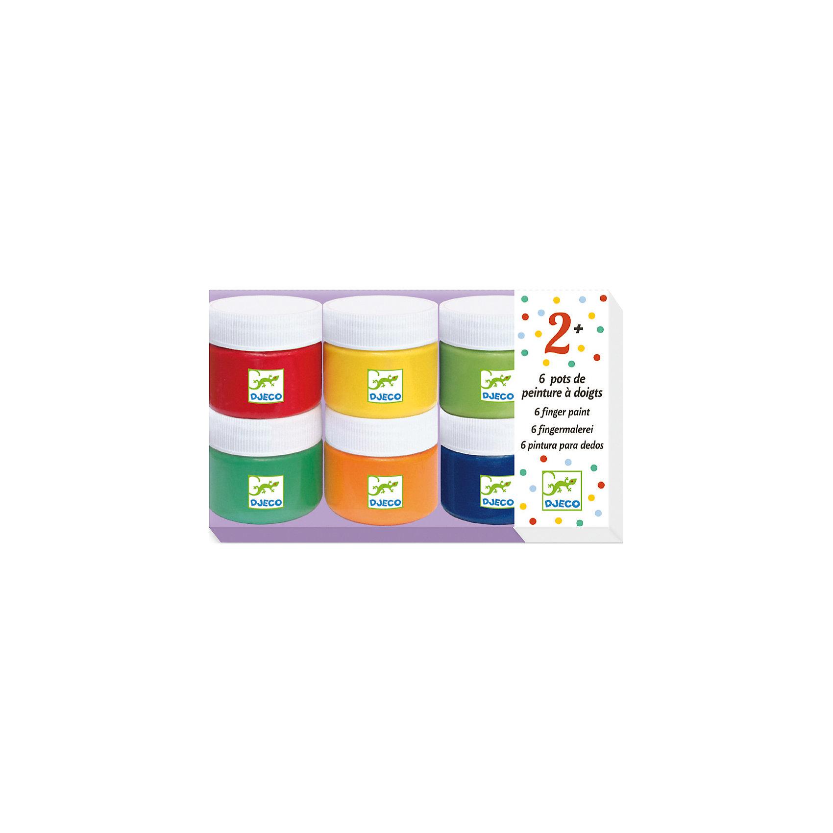Набор пальчиковых красок (6 цветов), DJECOПальчиковые краски<br>Набор пальчиковых красок (6 цветов), DJECO (ДЖЕКО) - это первое знакомство малыша с рисованием.<br>Пальчиковые краски – это великолепная возможность творить без всяких кисточек и карандашей. Яркие краски, легко наносятся на бумагу, а главное – в них можно залезть прямо руками и вдохновенно малевать свои первые шедевры пальцами. Краски упакованы в удобные баночки с закручивающимися крышечками, они состоят из натуральных ингредиентов, не токсичны, полностью безопасны для малышей! Краски легко смываются, поэтому не стоит бояться за одежду и мебель. Рисование пальцами положительно влияет на эмоциональное состояние, развивает творческие способности.<br><br>Дополнительная информация:<br><br>- В наборе: 6 баночек с красками (75 мл)<br>- Цвета: красный, оранжевый, желтый, синий, зеленый, салатовый<br>- Размер упаковки: 7 х 19 х 12 см.<br>- Вес: 850 гр.<br><br>Набор пальчиковых красок (6 цветов), DJECO (ДЖЕКО) можно купить в нашем интернет-магазине.<br><br>Ширина мм: 70<br>Глубина мм: 190<br>Высота мм: 120<br>Вес г: 850<br>Возраст от месяцев: 24<br>Возраст до месяцев: 72<br>Пол: Унисекс<br>Возраст: Детский<br>SKU: 4305759