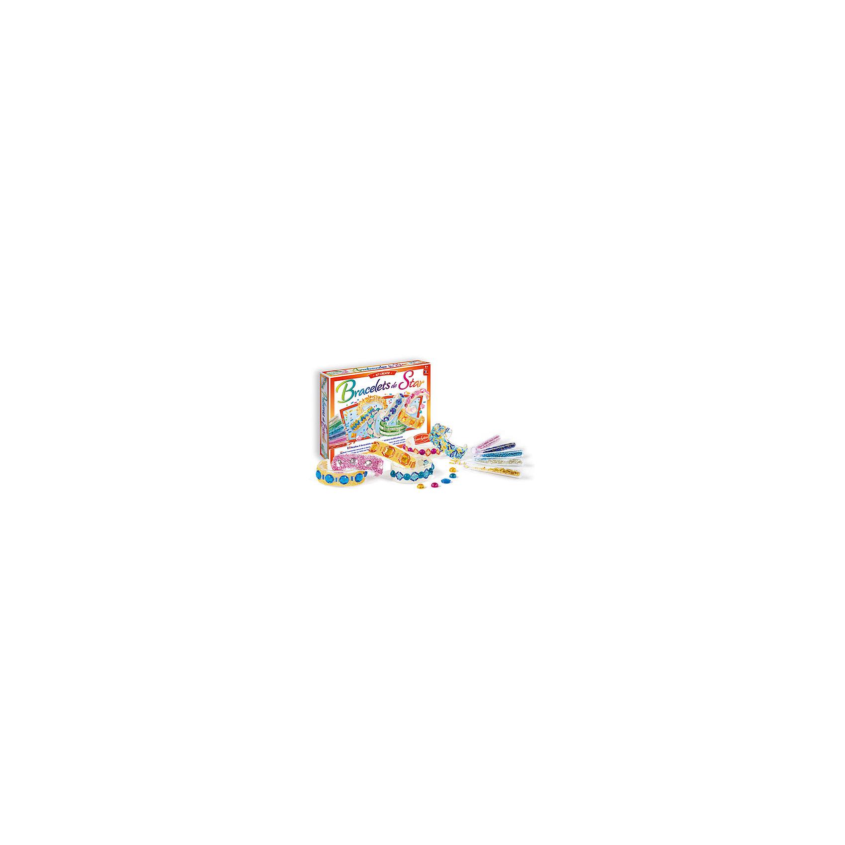 Создание украшений Звездные браслетыСоздание украшений Звездные браслеты – это прекрасный набор для детского творчества.<br>С помощью набора для создания украшений Звездные браслеты Вы сможете создать 5 восхитительных, модных браслетов, которые можно усыпать бисером или акриловыми бриллиантами по вашему вкусу или в соответствии с вашим стилем или нарядом. Все детали набора изготовлены из высококачественных и гипоаллергенных материалов. Набор продается в яркой красочной коробке и идеально подходит для подарка.<br><br>Дополнительная информация:<br><br>- В наборе: 5 браслетов 5-6 см в диаметре; 11 тюбиков бисера; 20 акриловых бриллиантов; специальная клеевая планка; подробная инструкция<br>- Размер упаковки: 25 x 4 x 20 см.<br>- Вес: 400 гр.<br><br>Набор Создание украшений Звездные браслеты можно купить в нашем интернет-магазине.<br><br>Ширина мм: 250<br>Глубина мм: 40<br>Высота мм: 200<br>Вес г: 400<br>Возраст от месяцев: 96<br>Возраст до месяцев: 156<br>Пол: Женский<br>Возраст: Детский<br>SKU: 4305780