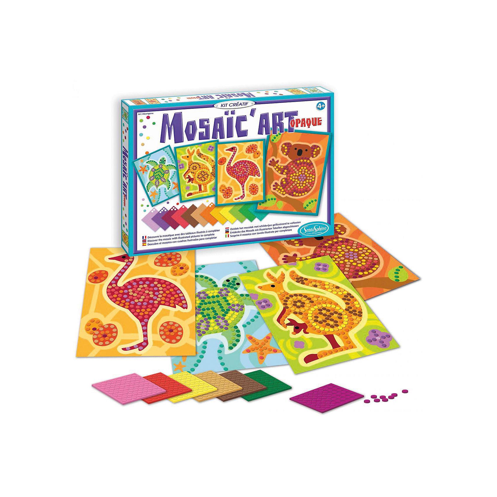 Набор для творчества Мозаика. Животные АвстралииНабор для творчества Мозаика. Животные Австралии – этот увлекательный набор для создания чудесных картин из мозаики.<br>Набор Мозаика. Животные Австралии от французского производителя Sentosphere (Сентосфере) – великолепный творческий подарок для каждого ребенка. Ребенок может создавать картинки по образцам, которые предложены в наборе. Кроме того, он сможет проявить фантазию и внести в рисунок новые интересные детали или создать свой неповторимый, оригинальный вариант. 728 мозаичных кубика позволяют сделать это! Набор для творчества способствует развитию художественных навыков, чувства прекрасного, мелкой моторики и аккуратности. Все детали набора изготовлены из высококачественных и гипоаллергенных материалов. Набор продается в яркой красочной коробке и идеально подходит для подарка.<br><br>Дополнительная информация:<br><br>- В наборе: 20 листов с мозаичными кубиками, 4 картинки, 1 подложка, подробная инструкция с примерами<br>- Размер упаковки: 33,5 х 3 х 25,5 см.<br>- Вес: 520 гр.<br><br>Набор для творчества Мозаика. Животные Австралии можно купить в нашем интернет-магазине.<br><br>Ширина мм: 335<br>Глубина мм: 30<br>Высота мм: 255<br>Вес г: 520<br>Возраст от месяцев: 48<br>Возраст до месяцев: 120<br>Пол: Унисекс<br>Возраст: Детский<br>SKU: 4305782