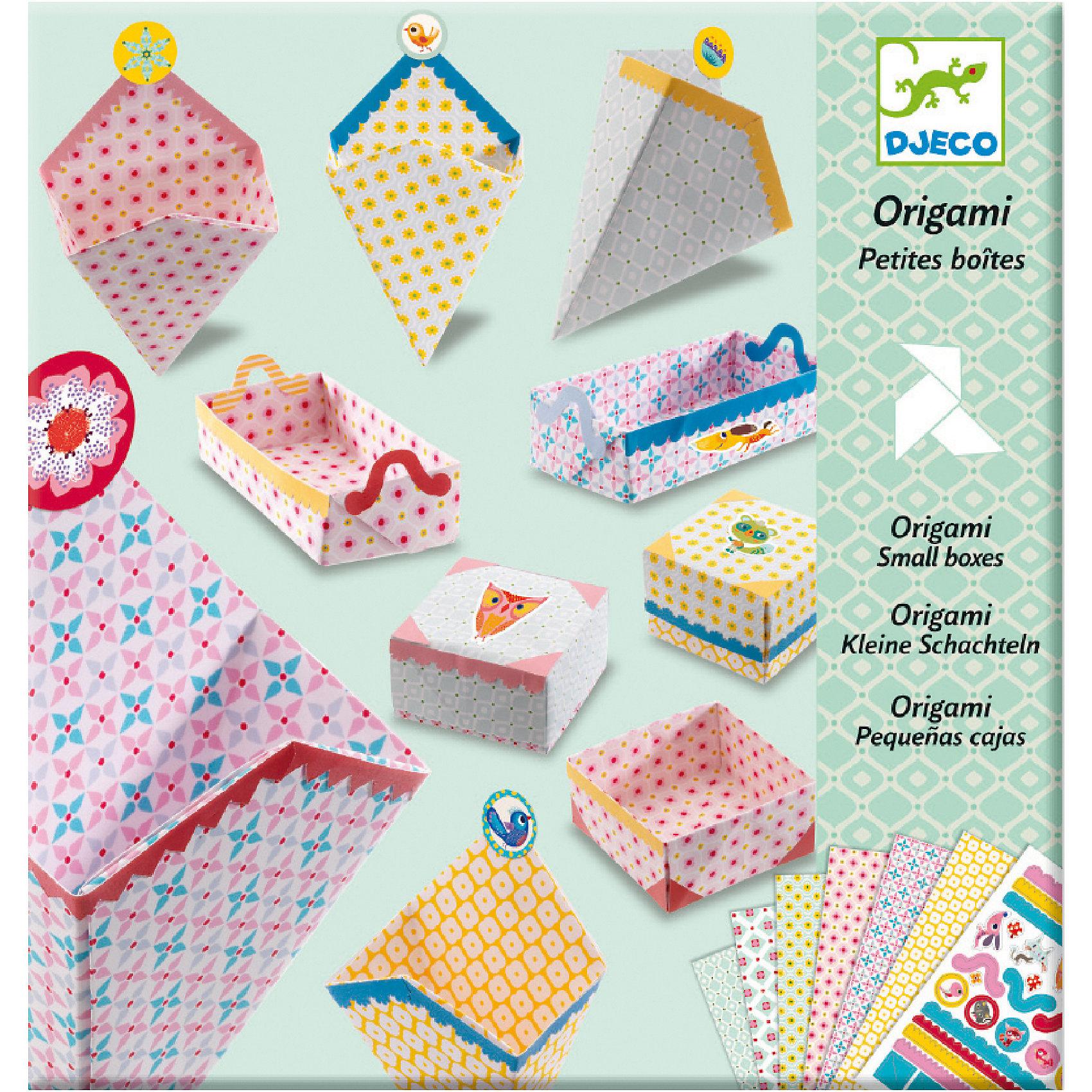 Оригами Маленькие коробочкиОригами Маленькие коробочки – это прекрасный набор для детского творчества.<br>С помощью очаровательного набора для творчества Маленькие коробочки от французского бренда Djeco (Джеко) ребенок научится складывать в технике оригами симпатичные коробочки. Готовые коробочки можно украсить яркими наклейками по своему вкусу или по инструкции. В них можно хранить детские секретики, ленточки, резиночки, заколки. И конечно в коробочку, сделанную своими руками, можно положить подарок и преподнести его друзьям или родителям. Набор развивает в детях логическое мышление, мелкую моторику и творческие способности.<br><br>Дополнительная информация:<br><br>- В наборе: 24 листа с орнаментами, наклейки для украшения, пошаговая инструкция<br>- Материал: бумага<br>- Размер упаковки: 23 х 22 х 1 см.<br>- Вес: 180 гр.<br><br>Оригами Маленькие коробочки можно купить в нашем интернет-магазине.<br><br>Ширина мм: 230<br>Глубина мм: 220<br>Высота мм: 10<br>Вес г: 180<br>Возраст от месяцев: 84<br>Возраст до месяцев: 156<br>Пол: Унисекс<br>Возраст: Детский<br>SKU: 4305783