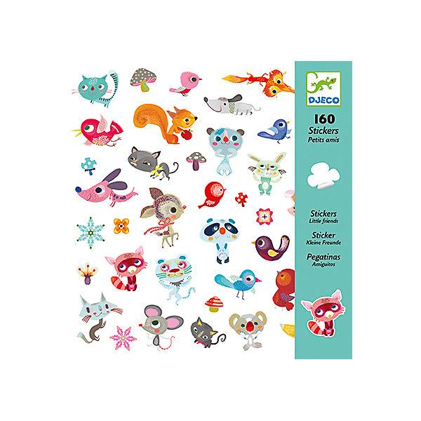 Наклейки Маленькие друзьяАксессуары для творчества<br>Наклейки Маленькие друзья  – это комплект замечательных ярких наклеек с веселыми зверушками.<br>Удивительный набор наклеек Маленькие друзья от французского бренда Djeco (Джеко) украсит любые поверхности детской комнаты. Можно оформить красивую открытку или аппликацию и подарить ее бабушке или друзьям. Изображения созданы современными французскими художниками. Каждая наклейка в этом наборе уникальна и необычна. Вашему малышу будет интересно рассматривать милые и веселые рожицы добродушного песика, хитрющего кота, весельчака медведя, придумывать имена, истории про каждого персонажа. Наклейки сделаны на виниловой основе, их можно переклеивать, они прекрасно клеятся к любой поверхности, легко снимаются и не оставляют следов. Процесс декорирования наклейками различных поверхностей окажет влияние на развитии фантазии и творческих способностей ребенка. Набор в яркой красочной упаковке прекрасно подойдет для подарка.<br><br>Дополнительная информация:<br><br>- В наборе: 160 наклеек (80 пар наклеек)<br>- 4 листа наклеек 20х20 см, на каждом по 40 наклеек<br>- Размер упаковки: 23 х 22 х 1 см.<br>- Вес: 80 гр.<br><br>Наклейки Маленькие друзья можно купить в нашем интернет-магазине.<br>Ширина мм: 230; Глубина мм: 220; Высота мм: 10; Вес г: 80; Возраст от месяцев: 36; Возраст до месяцев: 72; Пол: Унисекс; Возраст: Детский; SKU: 4305785;