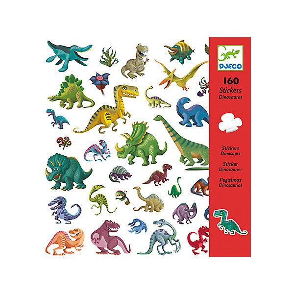 Наклейки ДинозаврыАксессуары для творчества<br>Наклейки Динозавры – это комплект замечательных ярких наклеек с забавными динозаврами.<br>Удивительный набор наклеек Динозавры от французского бренда Djeco (Джеко) – это коллекция наклеек с изображениями большинства известных науке динозавров. Художники изобразили древних рептилий более дружелюбными, чем они были на самом деле. Добрый юмор, присутствующий в каждом образе, придает каждому динозавру характер и индивидуальность. Наклейки с изображением динозавров и доисторической растительности украсит любые поверхности детской комнаты. Ими можно оформить красивую открытку или аппликацию и подарить ее бабушке или друзьям. Наклейки сделаны на виниловой основе, их можно переклеивать, они прекрасно клеятся к любой поверхности, легко снимаются и не оставляют следов. Процесс декорирования наклейками различных поверхностей окажет влияние на развитии фантазии и творческих способностей ребенка. Набор в яркой красочной упаковке прекрасно подойдет для подарка.<br><br>Дополнительная информация:<br><br>- В наборе: 160 наклеек<br>- 4 листа наклеек 20х20 см, на каждом по 40 наклеек<br>- Размер упаковки: 23 х 22 х 1 см.<br>- Вес: 80 гр.<br><br>Наклейки Динозавры можно купить в нашем интернет-магазине.<br>Ширина мм: 230; Глубина мм: 220; Высота мм: 10; Вес г: 80; Возраст от месяцев: 36; Возраст до месяцев: 72; Пол: Унисекс; Возраст: Детский; SKU: 4305786;