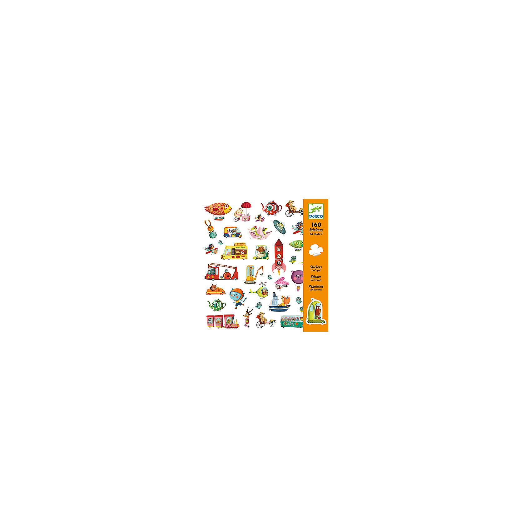 Наклейки «В дорогу!»Наклейки «В дорогу!» – это комплект замечательных ярких наклеек на тему транспорта.<br>Удивительный набор наклеек «В дорогу!» от французского бренда Djeco (Джеко) украсит любые поверхности детской комнаты. Можно оформить красивую открытку или аппликацию и подарить ее бабушке или друзьям. Изображения созданы современными французскими художниками. Каждая наклейка в этом наборе уникальна и необычна. Вашему малышу будет интересно рассматривать веселых зверушек на разнообразных видах транспорта: поезд, ракета, дирижабль, НЛО... Персонажи изображены в карикатурном жанре. Наклейки сделаны на виниловой основе, их можно переклеивать, они прекрасно клеятся к любой поверхности, легко снимаются и не оставляют следов. Процесс декорирования наклейками различных поверхностей окажет влияние на развитии фантазии и творческих способностей ребенка. Набор в яркой красочной упаковке прекрасно подойдет для подарка.<br><br>Дополнительная информация:<br><br>- В наборе: 160 наклеек (80 пар наклеек)<br>- 4 листа наклеек 20х20 см, на каждом по 40 наклеек<br>- Размер упаковки: 23 х 22 х 1 см.<br>- Вес: 70 гр.<br><br>Наклейки «В дорогу!» можно купить в нашем интернет-магазине.<br><br>Ширина мм: 220<br>Глубина мм: 230<br>Высота мм: 10<br>Вес г: 70<br>Возраст от месяцев: 36<br>Возраст до месяцев: 72<br>Пол: Унисекс<br>Возраст: Детский<br>SKU: 4305787