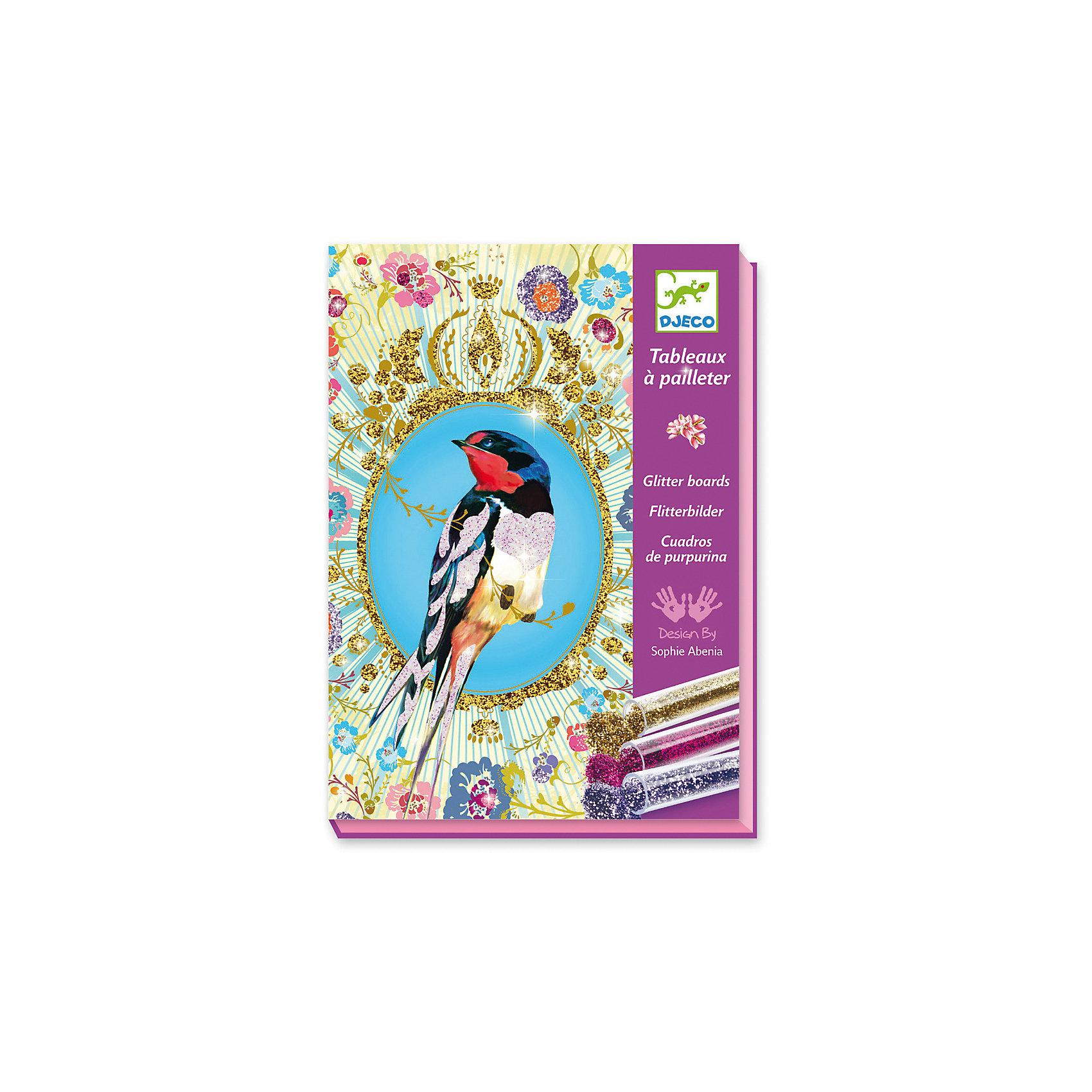 Набор для творчества «Блестящие птицы»Набор для творчества «Блестящие птицы» - это удивительно красивая раскраска блестками.<br>Набор для творчества «Блестящие птицы» от французской компании Djeco (Джеко) поможет девочкам самостоятельно создать невероятно красивые мерцающие картины. Картинки разделены на сектора и пронумерованы. На клейкий слой с помощью стека насыпается нужный цвет блесток (в соответствии с его номером), и с помощью кисти блестки равномерно распределяются. Коробка, в которой продается набор - рабочая поверхность. Раскрашивать картинку лучше в ней, рабочее место останется чистым. Коробочка набора имеет специальное отверстие для того, чтобы лишние блестки можно было ссыпать обратно в баночку. В результате кропотливой работы девочки получат 4 оригинальные открытки с изображением сказочных птичек в саду, все элементы будут блестеть и переливаться. Такие картинки украсят детскую комнату, станут замечательным подарком друзьям и родственникам. Набор для творчества «Блестящие птицы» развивает мелкую моторику рук, воображение, усидчивость и творческие способности.<br><br>Дополнительная информация:<br><br>- В наборе: 4 шаблона рисунков (15х21 см) на клейкой основе, 6 тюбиков с разноцветными блёстками, кисть, специальный стек, пошаговая инструкция<br>- Размер упаковки: 23 х 17 х 4 см.<br>- Вес: 450 гр. <br><br>Набор для творчества «Блестящие птицы» можно купить в нашем интернет-магазине.<br><br>Ширина мм: 230<br>Глубина мм: 170<br>Высота мм: 40<br>Вес г: 450<br>Возраст от месяцев: 84<br>Возраст до месяцев: 156<br>Пол: Унисекс<br>Возраст: Детский<br>SKU: 4305791