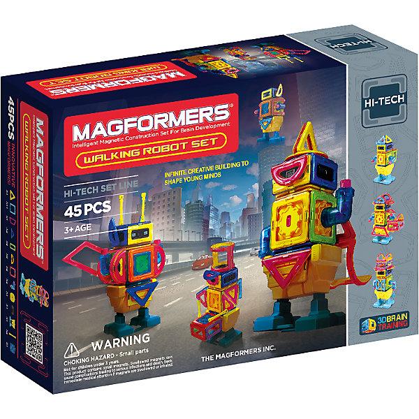 Магнитный конструктор Walking Robot, 45 деталей, MAGFORMERSИдеи подарков<br>Магнитный конструктор Walking Robot это увлекательный развивающий набор, который обязательно понравится детям. Особенность набора Magformers Walking Robot Set в том, что кроме стандартных деталей в него входят новые аксессуары - двигатель, пульт включения и блок для передвижения. Все вместе они образуют уникальную платформу для создания движущихся роботов Магформерс. Набор отлично дополнит вашу коллекцию конструкторов Магформерс. Игра с набором развивает логическое мышление, моторику, фантазию и внимание. <br><br>Дополнительная информация:<br><br>- Материал: пластик, магнит.<br>- Размер:  38 х 27,5 х 9,5 см.<br>- Комплектация: 4 магнитных треугольника, 11 магнитных квадратов, 4 магнитных трапеции, 2 магнитных треугольника, 8 магнитных прямоугольников, 6 магнитных полукругов, 2 магнитные арки, 1 базовая модель робота, Книга идей Magformers.<br><br>Магнитный конструктор Walking Robot, 45 деталей, MAGFORMERS (Магформерс) можно купить в нашем магазине.<br>Ширина мм: 275; Глубина мм: 380; Высота мм: 95; Вес г: 1500; Возраст от месяцев: 36; Возраст до месяцев: 96; Пол: Мужской; Возраст: Детский; SKU: 4310807;