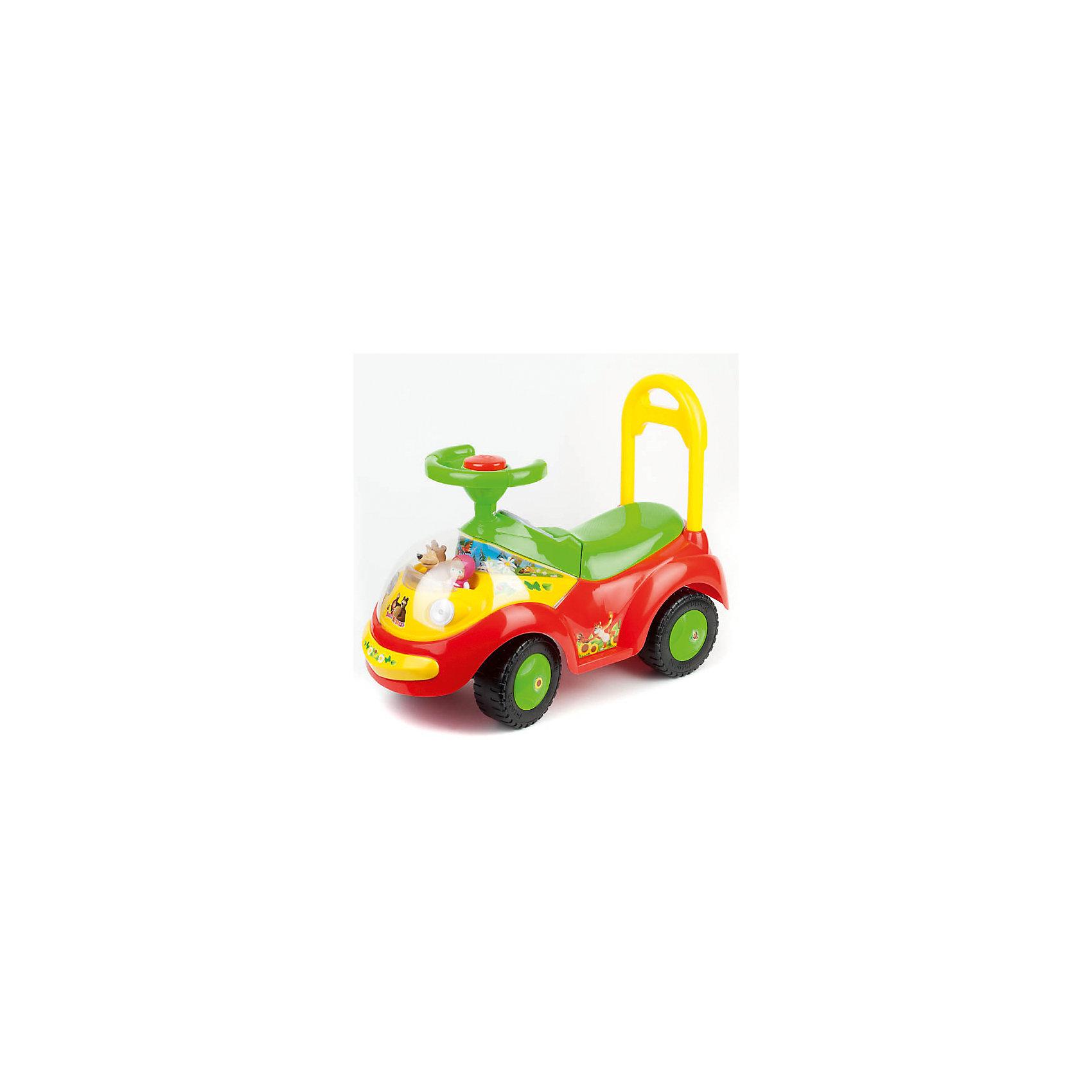 Машина-каталка, со светом и звуком, Маша и Медведь, BugatiЯркая машинка - каталка обязательно понравится малышам. Любимые герои в передней части автомобильчика порадуют кроху, а забавные звуки, мигалки и громкая пищалка сделают его путешествие незабываемым. В небольшой багажник под сиденьем можно положить свои любимые игрушки. Родители могут катать ребёнка за удобную ручку, а уже подросший малыш сможет отталкиваться ножками и ехать сам. Также кроха может использовать машинку как ходунки, толкая ее перед собой. Игрушка изготовлена из высококачественного прочного пластика, не имеет острых углов и мелких деталей, безопасна для детей. <br><br>Дополнительная информация:<br><br>- Материал:  пластик.<br>- Размер:  65х30х50 см .  <br>- Высота сиденья: 23 см.<br>- Максимальная нагрузка: 25 кг.<br>- Звуковые, световые эффекты, пищалка. <br>- Широкое удобное сиденье;<br>- Устойчивые пластиковые колеса<br>- Цвет: красный, зеленый, желтый. <br>- Багажник.<br>- Элемент питания: АА батарейки (не входят в комплект).<br><br>Машину-каталку, со светом и звуком, Маша и Медведь, Bugati, можно купить в нашем магазине.<br><br>Ширина мм: 660<br>Глубина мм: 480<br>Высота мм: 260<br>Вес г: 3100<br>Возраст от месяцев: 24<br>Возраст до месяцев: 60<br>Пол: Унисекс<br>Возраст: Детский<br>SKU: 4310823