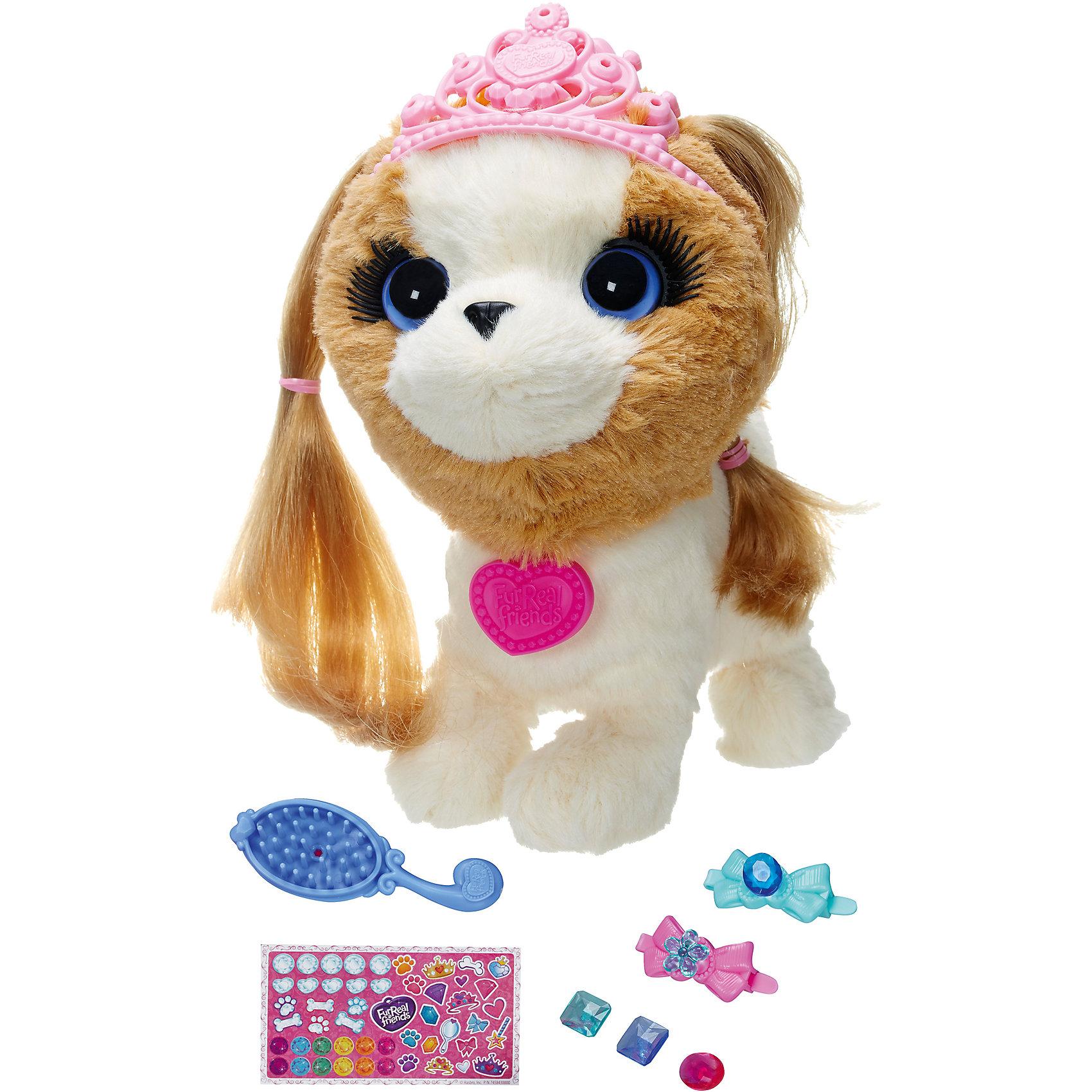 Щенок: Модные зверята, FurRealМодные зверята, FurReal Friends, Hasbro,  - интерактивная собачка-принцесса, который станет любимой игрушкой для вашей девочки.<br>Модные зверята, FurReal Friends от Hasbro (Хасбро) – это игровой набор с интерактивной собачкой-принцессой, о которой необходимо заботиться. Замечательная собачка-принцесса с мягкой бело-коричневой шерсткой не оставит равнодушной вашу малышку. Милое животное мечтает стать самой модной собачкой. В набор входит огромное количество аксессуаров для создания стильного образа. Собачке можно сделать модную прическу. Чтобы укоротить волшебные локоны принцессы, покрутите пластиковый бантик у нее на голове. Вырасти волосы собачки, могут тоже очень быстро, для этого просто потяните ее за хвостики. С волосами можно делать все, что угодно - расчесывать, закалывать, плести косички. Завершающим акцентом модного образа станет нежно-розовая узорная тиара, которая по цвету прекрасно подходит к светло-фиалковым глазам игрушки. Кроме того, тиару можно украсить различными элементами из набора. Если нажать на спинку собачки, то она будет радостно лаять, радуясь тому, что ей уделили внимание. Благодаря такой игрушке, Ваша малышка научиться заботиться о животных, а также она будет проявлять всю свою нежность, ласку и заботу к животному.<br><br>Дополнительная информация:<br><br>- В наборе: интерактивный щенок, корона, расческа, заколки, наклейки, пластиковые стразы, инструкция<br>- Батарейки: 2 х AAA / LR03 1.5V мизинчиковые (входят в комплект)<br>- Материал: плюш, текстиль, пластик<br>- Размер упаковки: 25 х 11 х 21,2 см.<br>- Вес: 520 гр.<br><br>Модных зверят, FurReal Friends, Hasbro, можно купить в нашем интернет-магазине.<br><br>Ширина мм: 110<br>Глубина мм: 250<br>Высота мм: 212<br>Вес г: 520<br>Возраст от месяцев: 48<br>Возраст до месяцев: 120<br>Пол: Женский<br>Возраст: Детский<br>SKU: 4312941