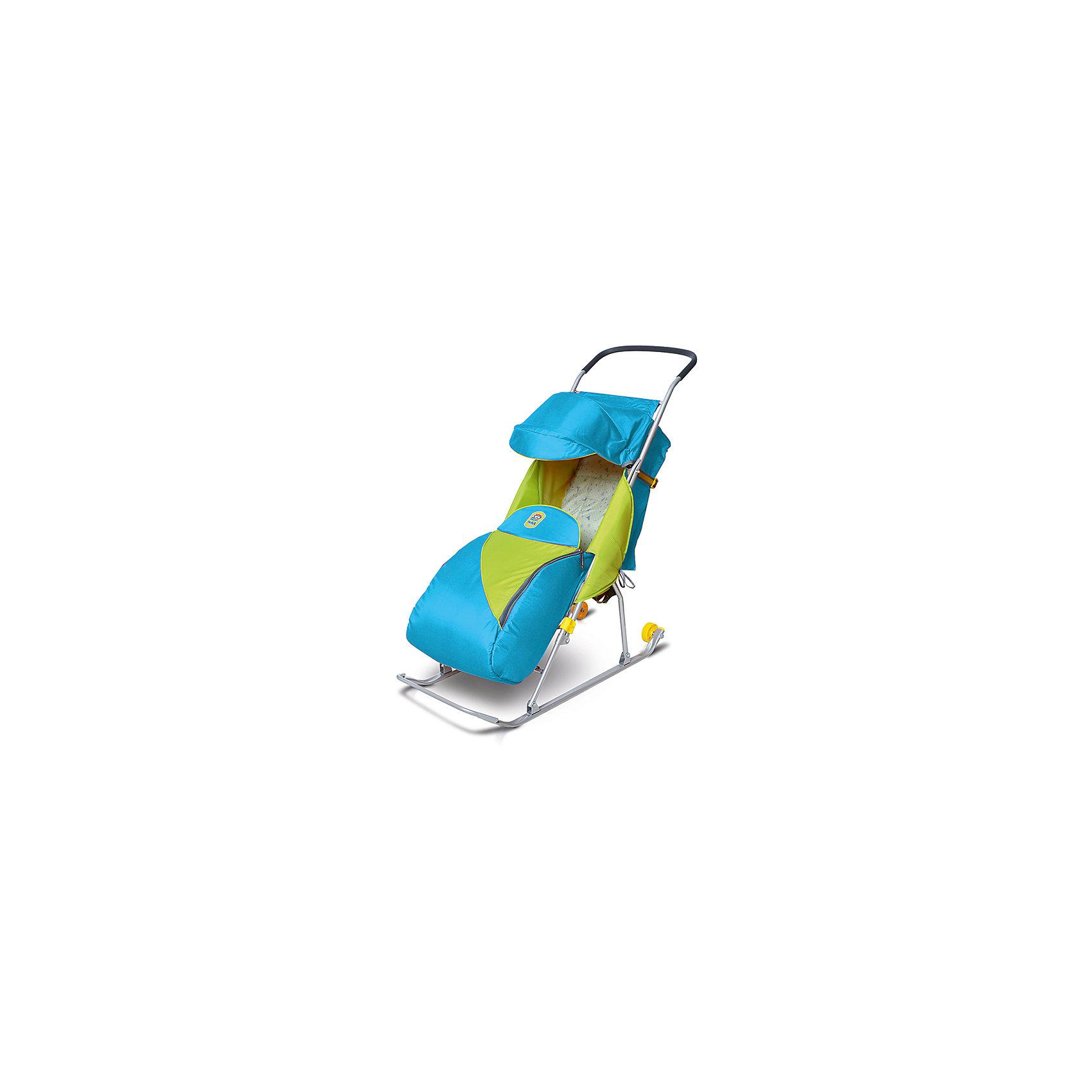 Санки-коляска Ника Тимка 2 Комфорт, бирюзовыйС колесиками<br>Санки-коляска Тимка - прекрасный вариант для наших погодных условий! Санки имеют удобную регулируемую спинку и складной козырек. Прочный металлический каркас легко складывается. Чехол, выполненный из высококачественного влагоотталкивающего материала, прекрасно защищает от холода и ветра. Широкие плоские полозья обеспечивают отличную проходимость. Санки оснащены трехточечными ремнями безопасности, имеют удобную накидку на ножки. Колеса на задней части полозьев позволяют без труда перевозить санки  через те участки, где нет снега, например, через дорогу. Модель быстро и легко складывается, занимает мало места при хранении и транспортировке. <br><br>Дополнительная информация:<br><br>- Материал: металл, полиэстер. <br>- Размер сиденья: 32х29 см.<br>- Размер спинки: 57х33,5 см.<br>- Высота ручки от земли: 93 см.<br>- Ширина полозьев: 3 см. <br>- Складной козырек.<br>- Сиденье с поролоновой вставкой.<br>- Накидка на ножки.<br>- Транспортировочные колеса. <br>- Трехточечные ремни безопасности. <br>- Спинка регулируется в двух положениях. <br>- Наклон спинки в положении сна:135 ?<br>- Вес: 4,6 кг<br>- Максимальный вес ребенка: 50 кг.<br>- Легко складываются. <br>- Большой задний карман.<br>- Светоотражающие элементы.<br>- Цвет: бирюзовый. <br><br>Санки-коляску Тимка 2 Комфорт, бирюзовые, можно купить в нашем магазине.<br><br>Ширина мм: 1080<br>Глубина мм: 410<br>Высота мм: 160<br>Вес г: 4540<br>Цвет: бирюзовый<br>Возраст от месяцев: 12<br>Возраст до месяцев: 48<br>Пол: Унисекс<br>Возраст: Детский<br>SKU: 4314884