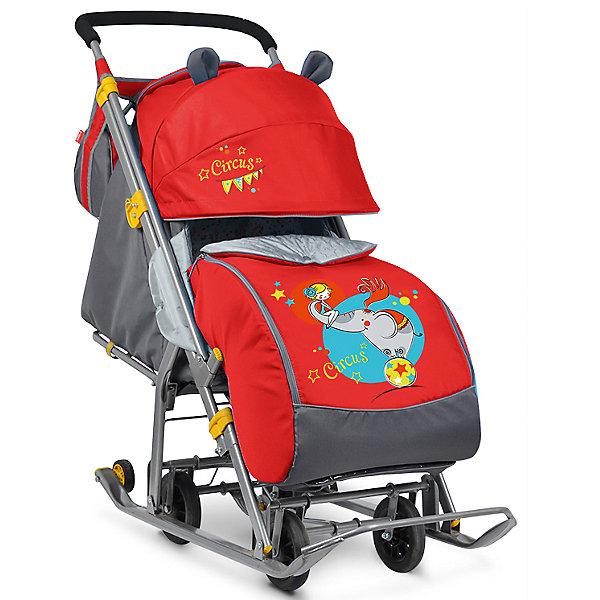Санки-коляска Ника детям 7, Девочка и слон, красный/серый