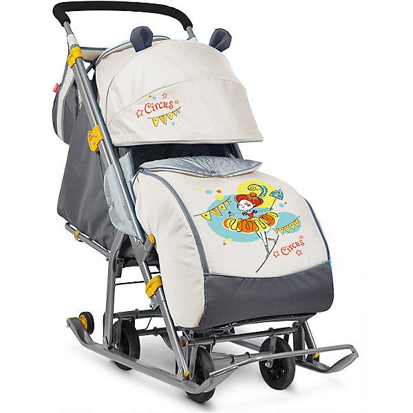Санки-коляска Ника детям 7, Девочка с зонтиком, бежевый