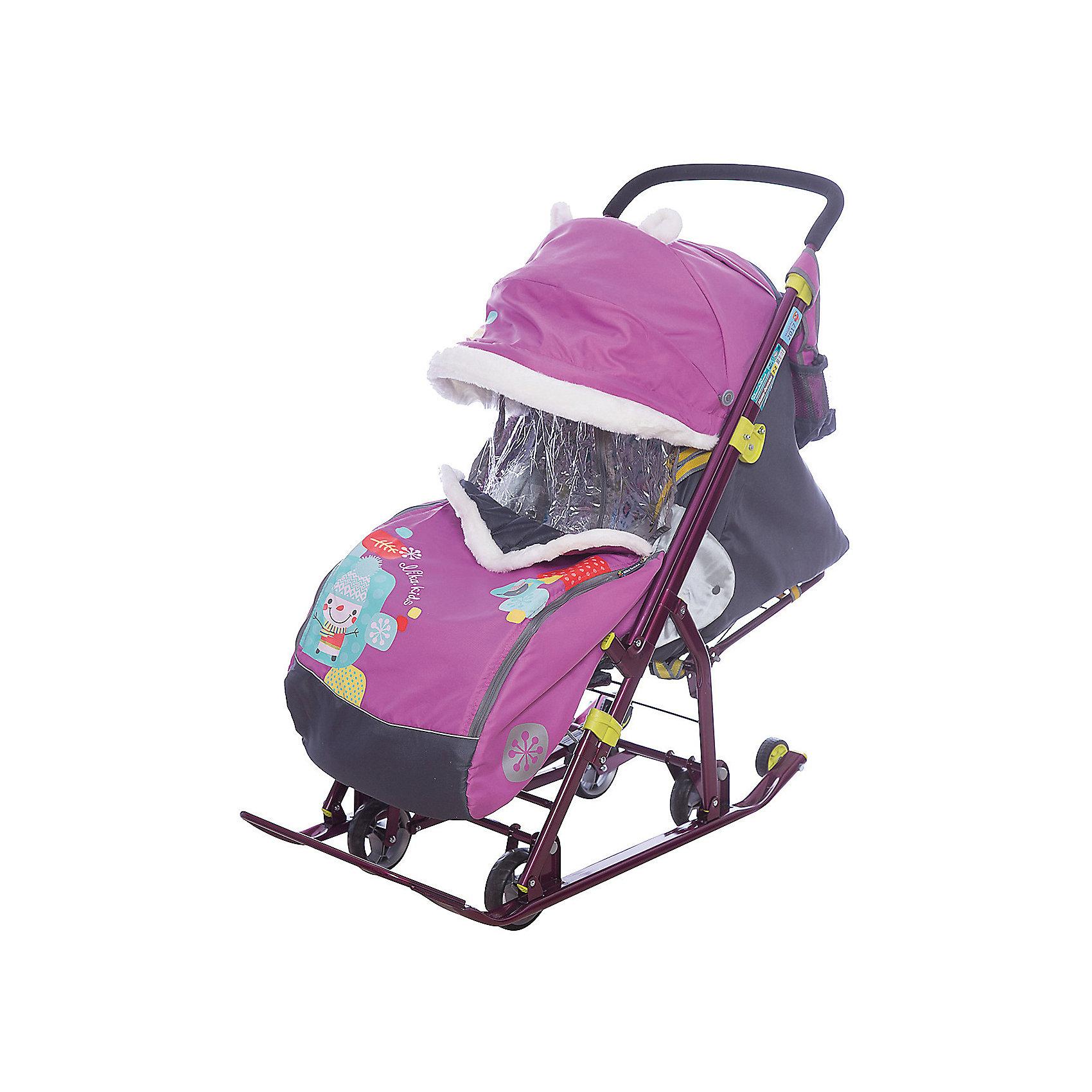 Ника Санки-коляска Ника детям 7-2, Коллаж-снеговик, детские санки коляска ника детям 7 4 мятный