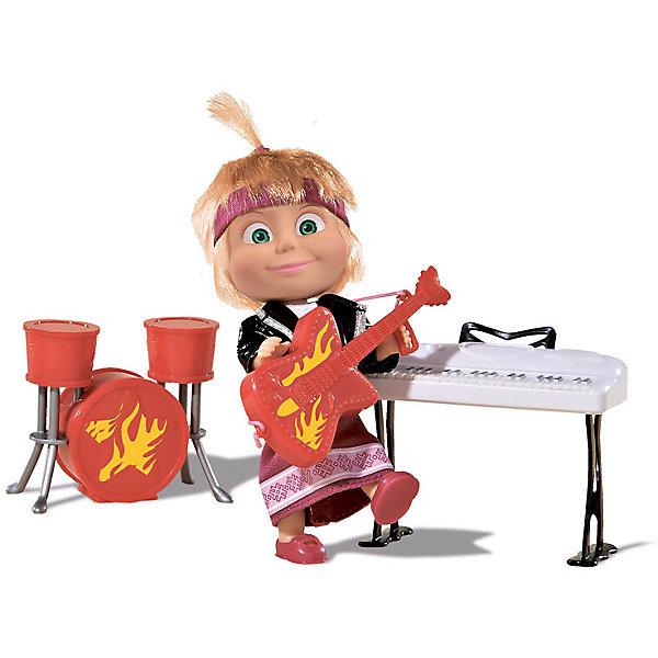 Кукла Маша в рок-наряде, Маша и Медведь, SimbaКуклы<br>Кукла Маша в рок-наряде, Маша и Медведь, Simba (Симба) – эта кукла позволит «воссоздать» мега-концерт из мультфильма Маша и Медведь.<br>Кукла Маша в рок-наряде Simba (Симба) - это очень точная копия главной героини мультфильма Маша и Медведь. В таком необычном образе она предстает перед поклонниками ее талантов в мультике Хит сезона (Серия 29). Кукла выполнена из высококачественной резины и пластика, а ее шелковистые светлые волосики надежно прошиты, что позволит девочкам причесывать свою любимицу и придумывать ей забавные озорные прически. Фьюжн-наряд маленькой рокерши состоит из любимого Машиного сарафана лилового цвета и небрежно накинутой кожаной косухи, а на голове красуется текстильная полоска в тон платья. Наша звезда эстрады еще и мульти-артист, ведь она играет сразу на трех инструментах. В арсенале Маши есть красная барабанная установка из трех барабанов, белоснежный синтезатор на стойке, а также электрогитара, увитая языками пламени, которую Маша может держать в руках. Колоритный набор поможет ребенку воссоздать сценку из любимого мультика или придумать совершенно новый и неожиданный сюжет. Если девочкам захочется сменить амплуа куколки, одежду можно легко снять и заменить на другую, которую они без труда могут смастерить самостоятельно.<br><br>Дополнительная информация:<br><br>- В наборе: кукла, гитара, барабанная установка, синтезатор<br>- Высота куклы: 12 см.<br>- Материал: пластик, резина, винил, нейлон, текстиль<br>- Размер упаковки: 24 х 6,7 х 16 см.<br>- Вес: 200 гр.<br><br>Куклу Машу в рок-наряде, Маша и Медведь, Simba (Симба) можно купить в нашем интернет-магазине.<br>Ширина мм: 240; Глубина мм: 67; Высота мм: 160; Вес г: 200; Возраст от месяцев: 36; Возраст до месяцев: 120; Пол: Женский; Возраст: Детский; SKU: 4315160;