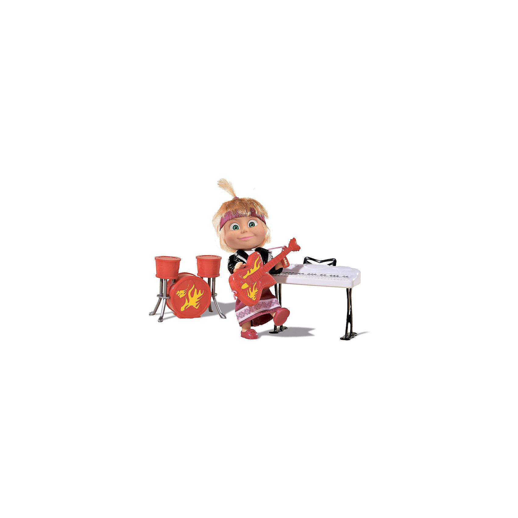 Кукла Маша в рок-наряде, Маша и Медведь, SimbaМаша и Медведь<br>Кукла Маша в рок-наряде, Маша и Медведь, Simba (Симба) – эта кукла позволит «воссоздать» мега-концерт из мультфильма Маша и Медведь.<br>Кукла Маша в рок-наряде Simba (Симба) - это очень точная копия главной героини мультфильма Маша и Медведь. В таком необычном образе она предстает перед поклонниками ее талантов в мультике Хит сезона (Серия 29). Кукла выполнена из высококачественной резины и пластика, а ее шелковистые светлые волосики надежно прошиты, что позволит девочкам причесывать свою любимицу и придумывать ей забавные озорные прически. Фьюжн-наряд маленькой рокерши состоит из любимого Машиного сарафана лилового цвета и небрежно накинутой кожаной косухи, а на голове красуется текстильная полоска в тон платья. Наша звезда эстрады еще и мульти-артист, ведь она играет сразу на трех инструментах. В арсенале Маши есть красная барабанная установка из трех барабанов, белоснежный синтезатор на стойке, а также электрогитара, увитая языками пламени, которую Маша может держать в руках. Колоритный набор поможет ребенку воссоздать сценку из любимого мультика или придумать совершенно новый и неожиданный сюжет. Если девочкам захочется сменить амплуа куколки, одежду можно легко снять и заменить на другую, которую они без труда могут смастерить самостоятельно.<br><br>Дополнительная информация:<br><br>- В наборе: кукла, гитара, барабанная установка, синтезатор<br>- Высота куклы: 12 см.<br>- Материал: пластик, резина, винил, нейлон, текстиль<br>- Размер упаковки: 24 х 6,7 х 16 см.<br>- Вес: 200 гр.<br><br>Куклу Машу в рок-наряде, Маша и Медведь, Simba (Симба) можно купить в нашем интернет-магазине.<br><br>Ширина мм: 240<br>Глубина мм: 67<br>Высота мм: 160<br>Вес г: 200<br>Возраст от месяцев: 36<br>Возраст до месяцев: 120<br>Пол: Женский<br>Возраст: Детский<br>SKU: 4315160