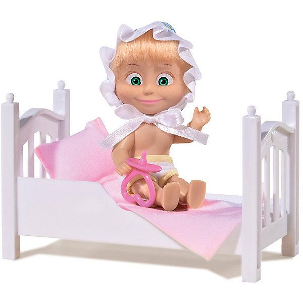 Кукла Маша с кроваткой, Маша и Медведь, SimbaМини-куклы<br>Кукла Маша с кроваткой, Маша и Медведь, Simba (Симба) – это прекрасный ситуационный набор по мотивам мультсериала Маша и медведь.<br>Главная героиня знаменитого мультика «Маша и Медведь» тоже нуждается во сне, поэтому у нее есть своя кроватка с мягким постельным бельем, а также шортики и чепчик. Чтобы кукла быстрее «уснула», ребенок может предложить ей симпатичную соску. Куколка выполнена из мягкого винила, ее волосы красиво блестят, а удивленно распахнутые глаза нанесены с помощью стойких красок. Ручки и ножки Маши подвижны, и ей можно придавать различные позы, оживляя игру. Кукла может стоять. Кровать Маши изготовлена из белого пластика и имеет фигурные изножье и изголовье, украшенные рельефными узорами. Чепчик озорной девчонки украшен милыми узорами и атласной оборкой, и удерживается на голове куклы при помощи завязок. Подушка и совмещенный с ней матрасик произведены из приятного на ощупь материала и при необходимости легко стираются, также как и одежда Маши.<br><br>Дополнительная информация:<br><br>- В наборе: кукла, кровать, подушка и совмещенный с ней матрасик, соска для Маши<br>- Высота куклы: 12 см.<br>- Материал: пластик, винил, текстиль<br>- Размер упаковки: 16 х 8,6 х 16 см.<br>- Вес: 200 гр.<br><br>Куклу Машу с кроваткой, Маша и Медведь, Simba (Симба) можно купить в нашем интернет-магазине.<br>Ширина мм: 160; Глубина мм: 86; Высота мм: 160; Вес г: 200; Возраст от месяцев: 36; Возраст до месяцев: 120; Пол: Женский; Возраст: Детский; SKU: 4315161;