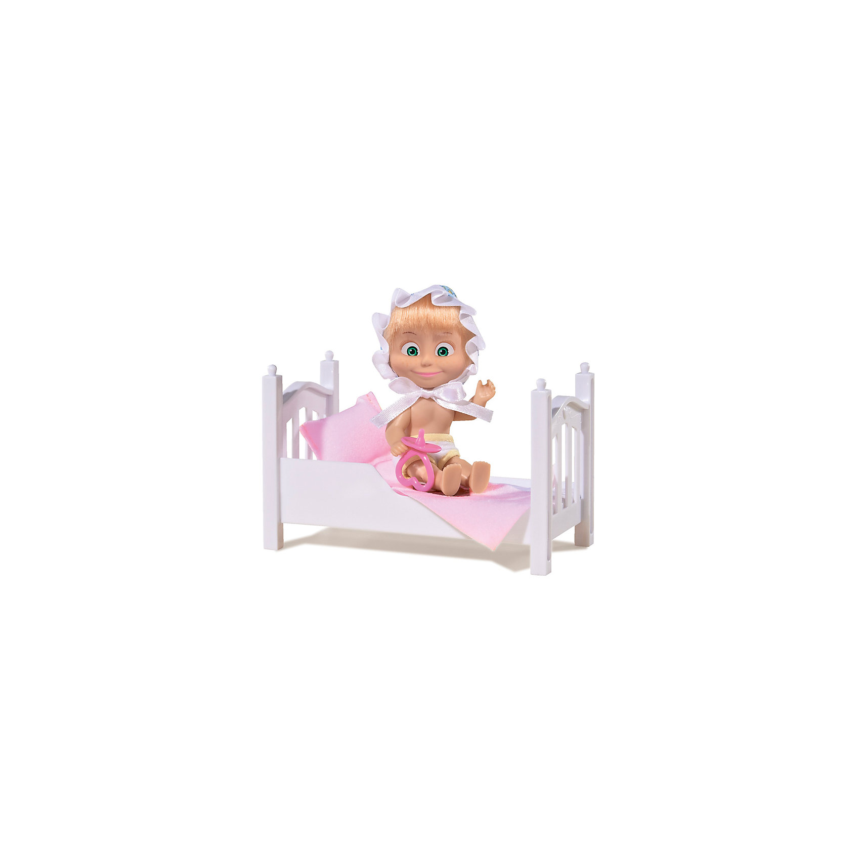 Кукла Маша с кроваткой, Маша и Медведь, SimbaМини-куклы<br>Кукла Маша с кроваткой, Маша и Медведь, Simba (Симба) – это прекрасный ситуационный набор по мотивам мультсериала Маша и медведь.<br>Главная героиня знаменитого мультика «Маша и Медведь» тоже нуждается во сне, поэтому у нее есть своя кроватка с мягким постельным бельем, а также шортики и чепчик. Чтобы кукла быстрее «уснула», ребенок может предложить ей симпатичную соску. Куколка выполнена из мягкого винила, ее волосы красиво блестят, а удивленно распахнутые глаза нанесены с помощью стойких красок. Ручки и ножки Маши подвижны, и ей можно придавать различные позы, оживляя игру. Кукла может стоять. Кровать Маши изготовлена из белого пластика и имеет фигурные изножье и изголовье, украшенные рельефными узорами. Чепчик озорной девчонки украшен милыми узорами и атласной оборкой, и удерживается на голове куклы при помощи завязок. Подушка и совмещенный с ней матрасик произведены из приятного на ощупь материала и при необходимости легко стираются, также как и одежда Маши.<br><br>Дополнительная информация:<br><br>- В наборе: кукла, кровать, подушка и совмещенный с ней матрасик, соска для Маши<br>- Высота куклы: 12 см.<br>- Материал: пластик, винил, текстиль<br>- Размер упаковки: 16 х 8,6 х 16 см.<br>- Вес: 200 гр.<br><br>Куклу Машу с кроваткой, Маша и Медведь, Simba (Симба) можно купить в нашем интернет-магазине.<br><br>Ширина мм: 160<br>Глубина мм: 86<br>Высота мм: 160<br>Вес г: 200<br>Возраст от месяцев: 36<br>Возраст до месяцев: 120<br>Пол: Женский<br>Возраст: Детский<br>SKU: 4315161