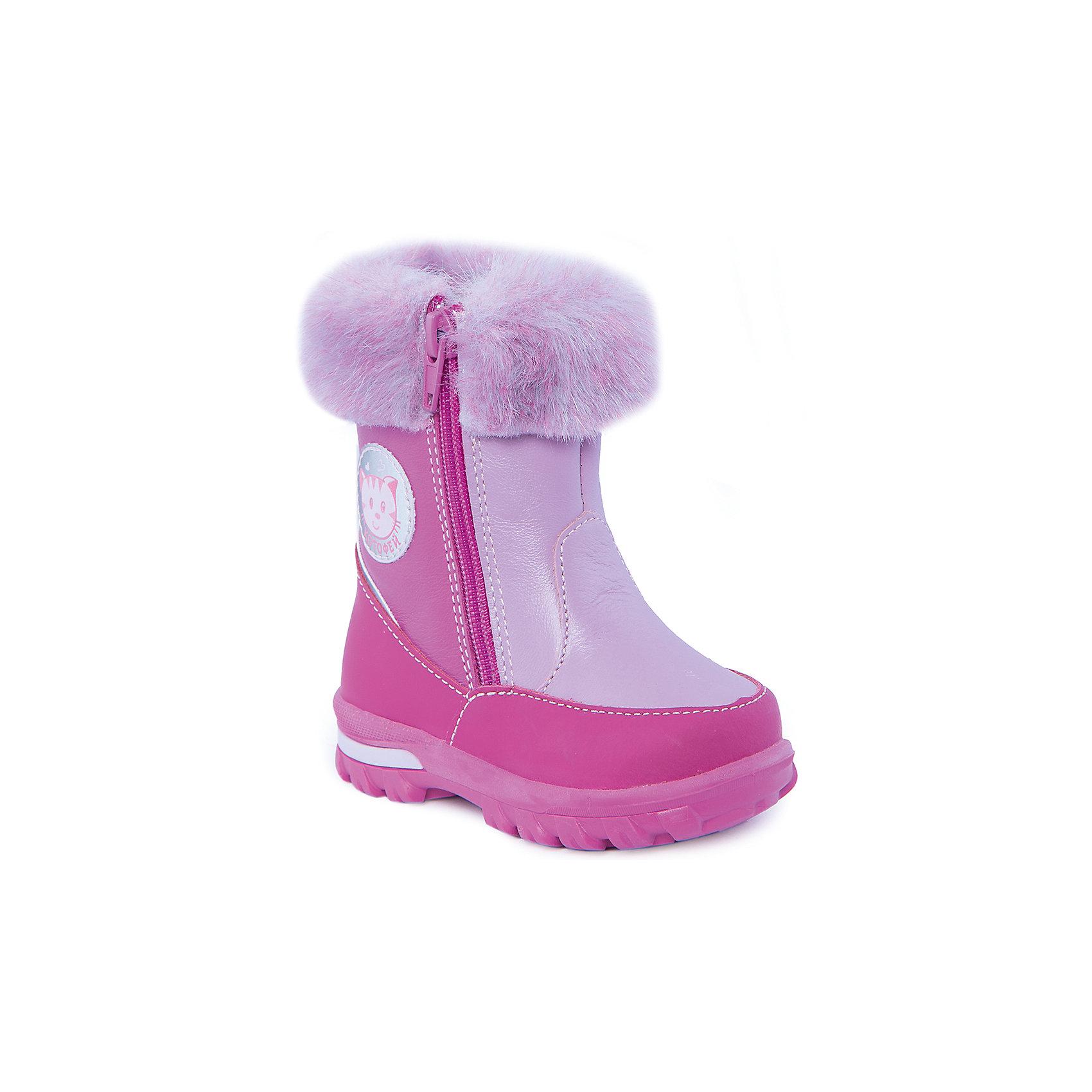 Сапоги для девочки КотофейСапоги для девочки от известного российского бренда Котофей<br><br>Стильные и удобные сапоги помогут защитить детские ножки от сырости и холода. Они легко надеваются, комфортно садятся по ноге.<br><br>Особенности модели: <br><br>- цвет - фуксия;<br>- аппликация с котом сбоку;<br>- меховые отвороты;<br>- верх – натуральная кожа;<br>- комфортная колодка;<br>- подкладка утепленная;<br>- вид крепления – клеевой;<br>- защита пальцев;<br>- амортизирующая устойчивая подошва;<br>- застежка - молния.<br><br>Дополнительная информация:<br><br>Температурный режим: <br><br>от 0° С до -25° С<br><br>Состав:<br>верх – натуральная кожа;<br>подкладка - овчина;<br>подошва - ТЭП.<br><br>Сапоги для девочки Котофей можно купить в нашем магазине.<br><br>Ширина мм: 257<br>Глубина мм: 180<br>Высота мм: 130<br>Вес г: 420<br>Цвет: фиолетовый<br>Возраст от месяцев: 21<br>Возраст до месяцев: 24<br>Пол: Женский<br>Возраст: Детский<br>Размер: 24,21,23,22<br>SKU: 4315189