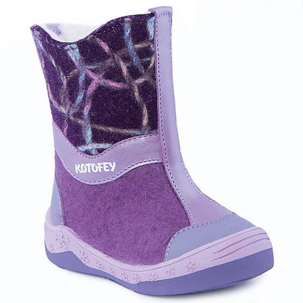 Валенки для девочки КотофейВаленки<br>Валенки для девочки  от известного российского бренда Котофей<br><br>Теплые и удобные валенки помогут защитить детские ножки от сырости и холода. Они легко надеваются, комфортно садятся по ноге.<br><br>Особенности модели: <br><br>- цвет - сиреневый, фиолетовый;<br>- стильный дизайн;<br>- нашивка в виде сердечка;<br>- защита пятки и пальцев;<br>- удобная колодка;<br>- подкладка утепленная;<br>- вид крепления – клеевой;<br>- амортизирующая подошва;<br>- застежка - молния.<br><br>Дополнительная информация:<br><br>Температурный режим: <br><br>от 0° С до -25° С<br><br>Состав:<br>верх – войлок;<br>подкладка - шерстяной мех;<br>подошва - ТЭП.<br><br>Валенки для девочки Котофей можно купить в нашем магазине.<br>Ширина мм: 257; Глубина мм: 180; Высота мм: 130; Вес г: 420; Цвет: лиловый; Возраст от месяцев: 24; Возраст до месяцев: 24; Пол: Женский; Возраст: Детский; Размер: 25,26,24,23; SKU: 4315273;