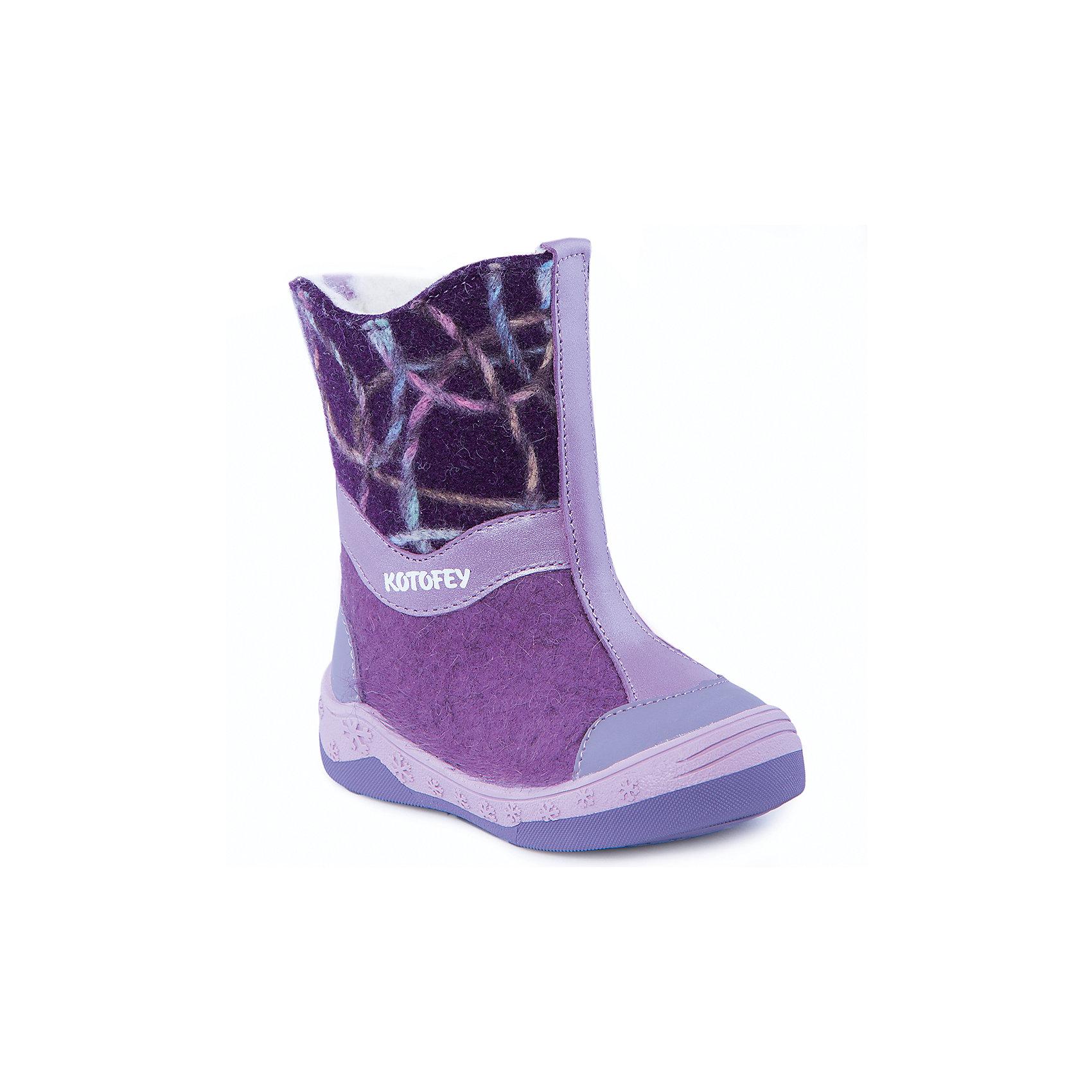 Валенки для девочки КотофейВаленки<br>Валенки для девочки  от известного российского бренда Котофей<br><br>Теплые и удобные валенки помогут защитить детские ножки от сырости и холода. Они легко надеваются, комфортно садятся по ноге.<br><br>Особенности модели: <br><br>- цвет - сиреневый, фиолетовый;<br>- стильный дизайн;<br>- нашивка в виде сердечка;<br>- защита пятки и пальцев;<br>- удобная колодка;<br>- подкладка утепленная;<br>- вид крепления – клеевой;<br>- амортизирующая подошва;<br>- застежка - молния.<br><br>Дополнительная информация:<br><br>Температурный режим: <br><br>от 0° С до -25° С<br><br>Состав:<br>верх – войлок;<br>подкладка - шерстяной мех;<br>подошва - ТЭП.<br><br>Валенки для девочки Котофей можно купить в нашем магазине.<br><br>Ширина мм: 257<br>Глубина мм: 180<br>Высота мм: 130<br>Вес г: 420<br>Цвет: фиолетовый<br>Возраст от месяцев: 21<br>Возраст до месяцев: 24<br>Пол: Женский<br>Возраст: Детский<br>Размер: 24,25,23,26<br>SKU: 4315273