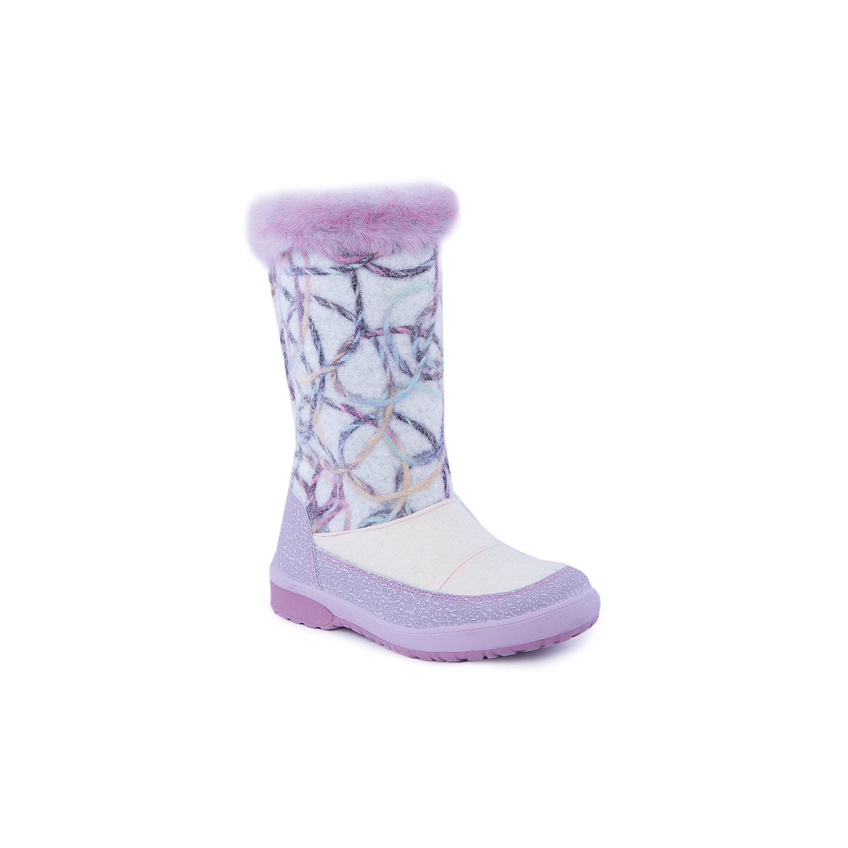 Сапоги для девочки КотофейВаленки<br>Валенки для девочки  от известного российского бренда Котофей<br><br>Модные и удобные валенки помогут защитить детские ножки от сырости и холода. Они легко надеваются, комфортно садятся по ноге.<br><br>Особенности модели: <br><br>- цвет - белый, сиреневый;<br>- стильный дизайн;<br>- опушка сверху;<br>- защита пятки и пальцев;<br>- удобная колодка;<br>- подкладка утепленная;<br>- вид крепления – клеевой;<br>- амортизирующая подошва;<br>- застежка - молния.<br><br>Дополнительная информация:<br><br>Температурный режим: <br><br>от 0° С до -25° С<br><br>Состав:<br>верх – войлок;<br>подкладка - шерстяной мех;<br>подошва - ТЭП.<br><br>Валенки для девочки Котофей можно купить в нашем магазине.<br><br>Ширина мм: 257<br>Глубина мм: 180<br>Высота мм: 130<br>Вес г: 420<br>Цвет: белый<br>Возраст от месяцев: 156<br>Возраст до месяцев: 168<br>Пол: Женский<br>Возраст: Детский<br>Размер: 37,32,34,37.5,36,35,33<br>SKU: 4315341