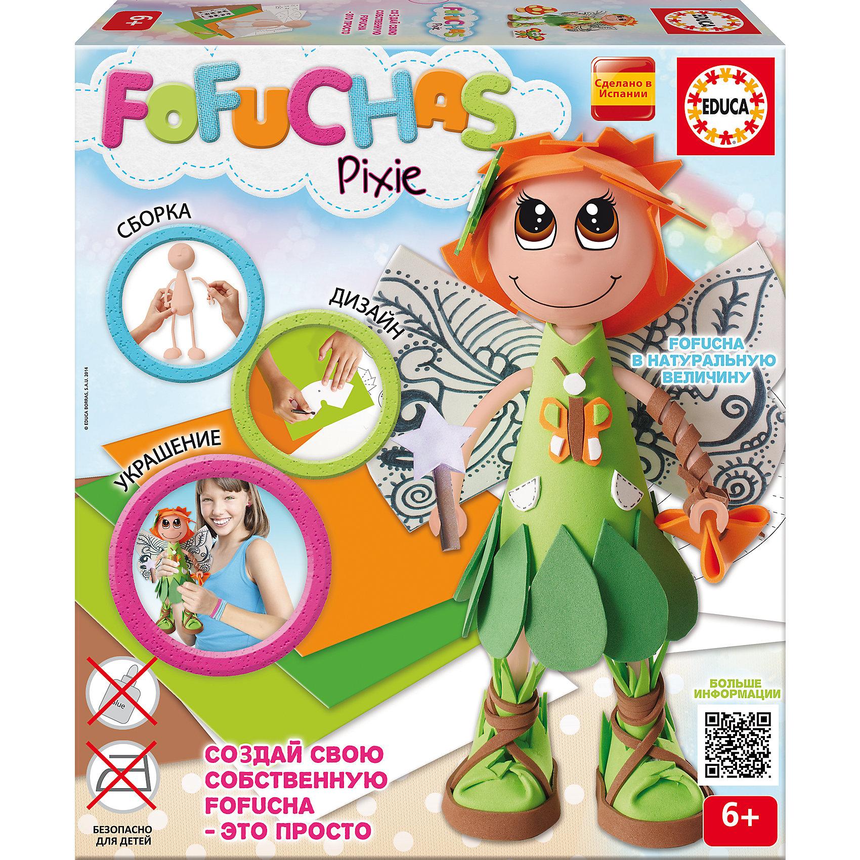 Набор для творчества в виде куклы Фофуча ПиксиНабор для творчества в виде куклы Фофуча Пикси – это набор в виде куклы в разобранном виде.<br>С помощью набора для творчества Фофуча Пикси маленькие мастерицы смогут создать милую и симпатичную куколку Пикси. Слово Фофуча пришло из Бразилии и означает милая и симпатичная, так же называется и эти привлекательные куколки с длинными ногами и круглыми головами. Каждая Fofucha (Фофуча) так же уникальна, как и человек, ее создавший. Создать свою яркую, веселую, забавную и жизнерадостную Fofucha - это просто!<br><br>Дополнительная информация:<br><br>- В наборе: сборное тело куклы из пластика, 5 листов ЭВА, скотч, схемы, картонные детали, самоклеящиеся глаза и рот, инструкция<br>- Материал: пластик, ЭВА, картон, бумага, полимерный материал<br>- Не требуется утюга и клея<br>- Упаковка: картонная коробка<br>- Размер упаковки: 330x290x70 мм.<br>- Вес: 644 гр.<br><br>Набор для творчества в виде куклы Фофуча Пикси можно купить в нашем интернет-магазине.<br><br>Ширина мм: 335<br>Глубина мм: 295<br>Высота мм: 72<br>Вес г: 650<br>Возраст от месяцев: 72<br>Возраст до месяцев: 168<br>Пол: Женский<br>Возраст: Детский<br>SKU: 4316588