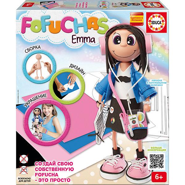 Набор для творчества в виде куклы Фофуча ЭммаШитьё<br>Набор для творчества в виде куклы Фофуча Эмма – это набор в виде куклы в разобранном виде.<br>С помощью набора для творчества Фофуча Эмма маленькие мастерицы смогут создать милую и симпатичную куколку Эмму. Слово Фофуча пришло из Бразилии и означает милая и симпатичная, так же называется и эти привлекательные куколки с длинными ногами и круглыми головами. Каждая Fofucha (Фофуча) так же уникальна, как и человек, ее создавший. Создать свою яркую, веселую, забавную и жизнерадостную Fofucha - это просто!<br><br>Дополнительная информация:<br><br>- В наборе: сборное тело куклы из пластика, 5 листов ЭВА, скотч, схемы, картонные детали, самоклеящиеся глаза и рот, инструкция<br>- Материал: пластик, ЭВА, картон, бумага, полимерный материал<br>- Не требуется утюга и клея<br>- Упаковка: картонная коробка<br>- Размер упаковки: 330x290x70 мм.<br>- Вес: 644 гр.<br><br>Набор для творчества в виде куклы Фофуча Эмма можно купить в нашем интернет-магазине.<br><br>Ширина мм: 335<br>Глубина мм: 295<br>Высота мм: 72<br>Вес г: 650<br>Возраст от месяцев: 72<br>Возраст до месяцев: 168<br>Пол: Женский<br>Возраст: Детский<br>SKU: 4316590