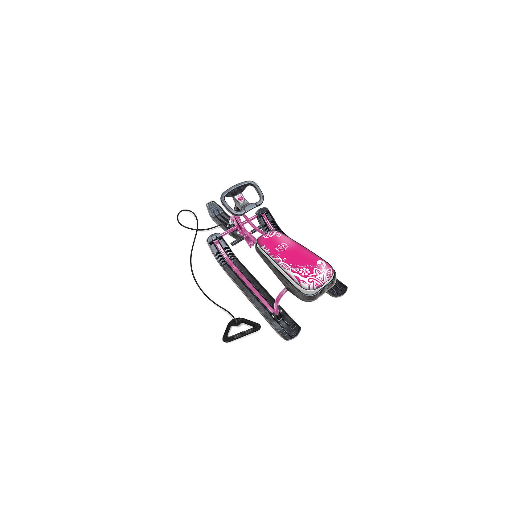 Снегокат Тимка спорт1: Пинк, НикаСнегокат Тимка спорт1: Пинк, Ника, обеспечит веселое и комфортное катание ребенку во время зимних прогулок. Снегокат рассчитан на девочек и имеет яркий стильный дизайн и розовую расцветку с растительным узором, отличается хорошей устойчивостью на склонах и простотой в управлении. Имеет сварную конструкцию из стальных труб. Оснащен удлиненным мягким сиденьем, улучшенным широким тормозом и поворотным спортивным рулем. Амортизатор на передней лыже смягчает удары и неровности дороги. Имеется буксировочный трос. Ноги ребенок<br>может поставить на педали или на ободки, к которым присоединены лыжи. Динамическая форма и широкие лыжи из морозоустойчивого пластика обеспечивают скоростное катание и прекрасное скольжение по снежному покрову. Для детей 7-12 лет, максимальная нагрузка -100 кг.<br><br>Дополнительная информация:<br><br>- Материал: металл, пластик.<br>- Высота до сиденья: 38 см.<br>- Высота рамы: 54 см.<br>- Внешние размеры: 110 х 49 х 54 см.<br>- Вес: 7,2 кг.<br><br>Снегокат Тимка спорт1: Пинк, Ника, можно купить в нашем интернет-магазине.<br><br>Ширина мм: 1100<br>Глубина мм: 370<br>Высота мм: 380<br>Вес г: 5800<br>Возраст от месяцев: 84<br>Возраст до месяцев: 144<br>Пол: Женский<br>Возраст: Детский<br>SKU: 4317146