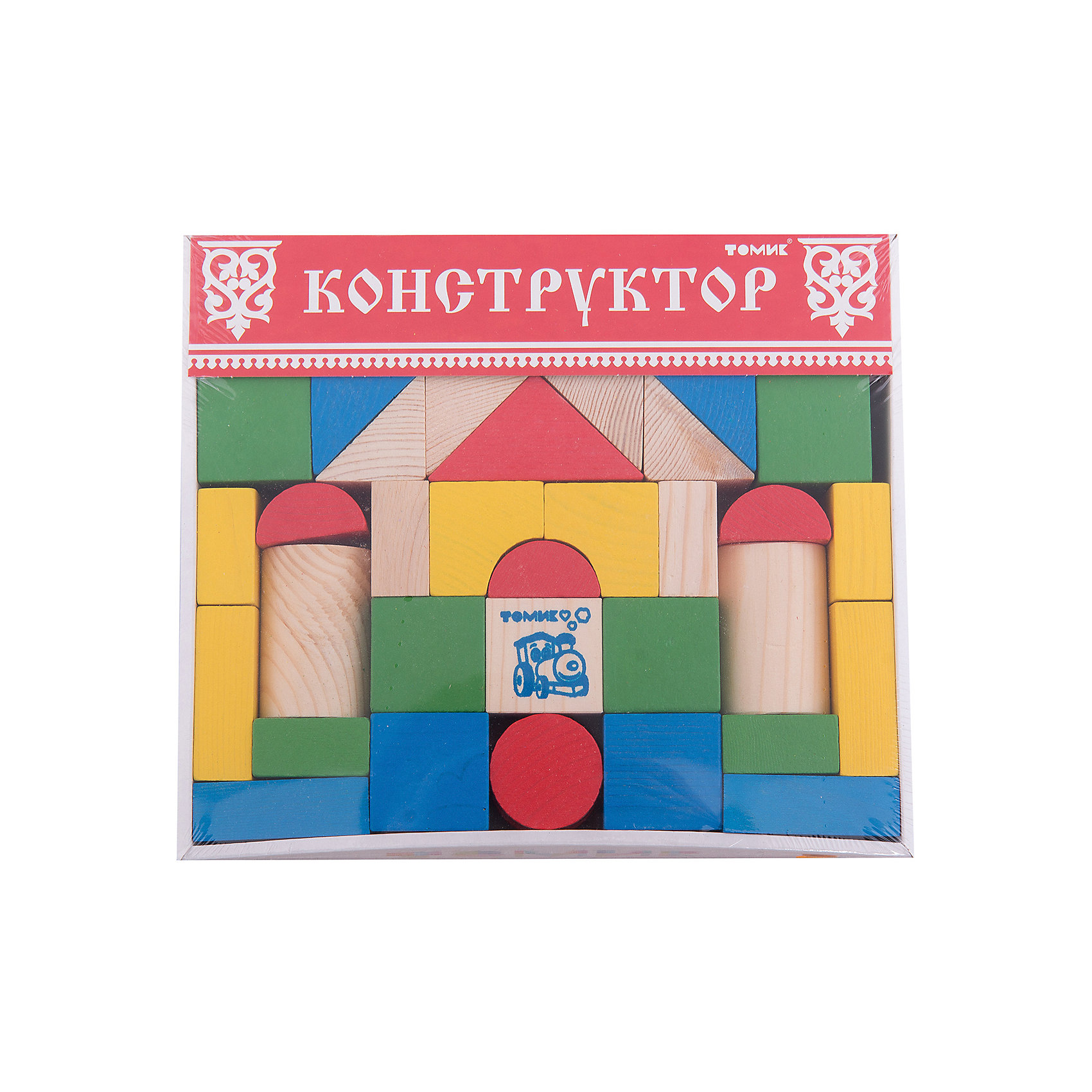 Томик Конструктор Цветной 43 детали,Томик томик деревянный конструктор цветной 26 деталей