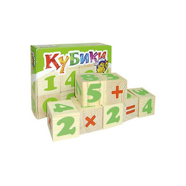 Деревянные кубики Томик Цифры, 12 штКубики<br>Характеристики:<br><br>• возраст: от 3 лет<br>• комплектация: 12 кубиков<br>• размер кубика: 4х4х4 см.<br>• материал: древесина<br>• упаковка: картонная коробка<br>• размер упаковки: 13х17х4 см.<br>• вес: 409 гр.<br><br>Обучающие кубики Томик помогут малышу выучить цифры и освоить счет. На неокрашенных гранях кубиков нанесены яркие цветные цифры и математические знаки.<br><br>Попросите малыша выбрать любой понравившийся кубик и расскажите ему про цифру на его грани. Выберите два кубика и сравните, какое число больше, а какое меньше. Обратите внимание ребенка на математические знаки: плюс, минус, умножить, разделить, равно. Объясните, что значит каждый из них, и с помощью кубиков научите малыша складывать, вычитать, умножать и делить.<br><br>Из кубиков также можно просто строить пирамидки и другие постройки.<br><br>Кубики изготовлены из древесины, тщательно отшлифованы.<br><br>Кубики ТОМИК 1111-3 Цифры 12 шт. можно купить в нашем интернет-магазине.<br><br>Ширина мм: 170<br>Глубина мм: 130<br>Высота мм: 40<br>Вес г: 409<br>Возраст от месяцев: 36<br>Возраст до месяцев: 84<br>Пол: Унисекс<br>Возраст: Детский<br>SKU: 4317165