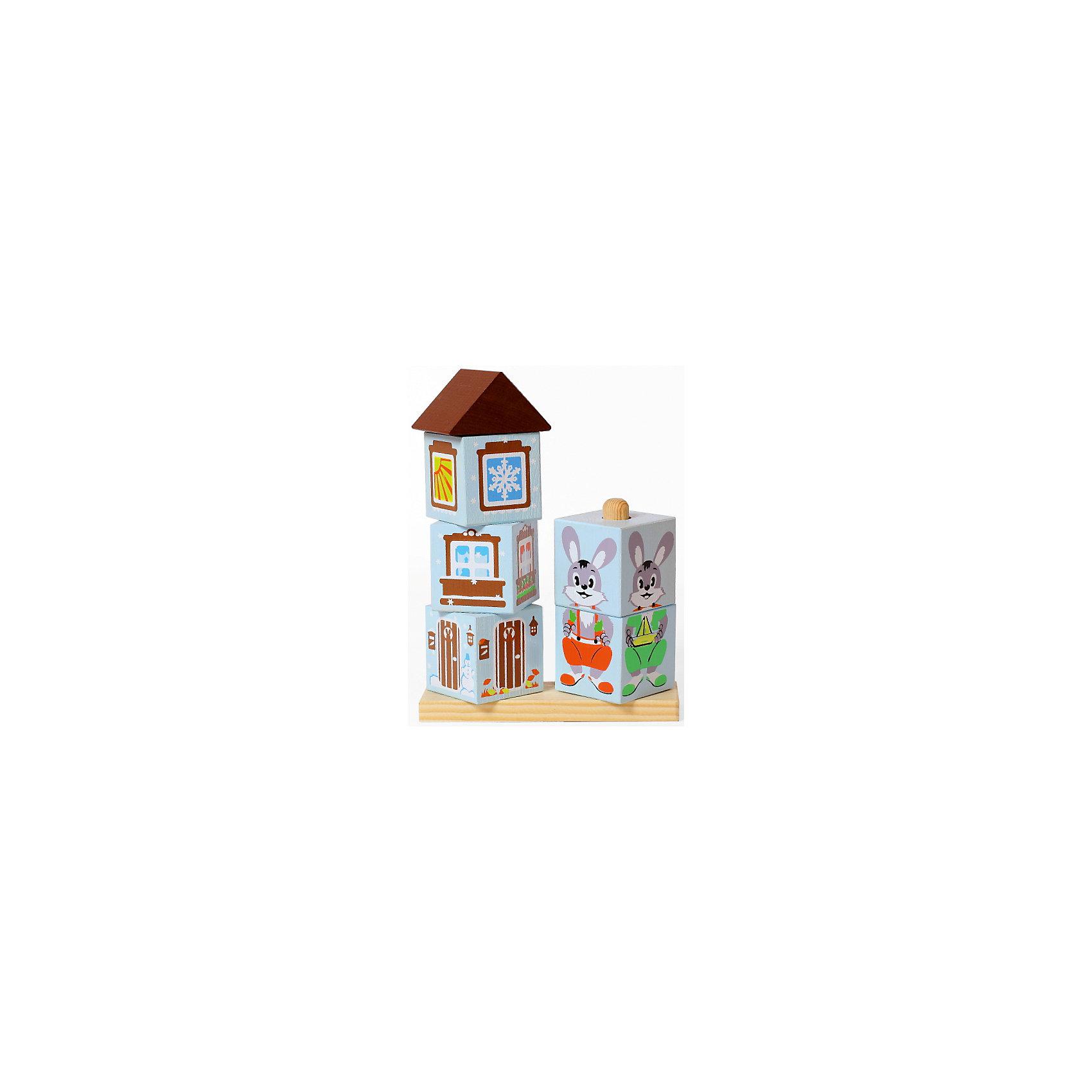 Кубики Зайка,ТомикКубики Зайка,Томик – это веселая развивающая игра-пирамидка из экологически чистой древесины.<br>Игровой набор кубиков Зайка представляет собой двойную пирамидку, т.е. основание с двумя стержнями, на которые нужно надеть соответствующие кубики, чтобы собрать домик и зайчика. Но задание усложняется тем, что зайчик в каждое время года одет иначе, и его домик выглядит соответственно осенью, зимою, весною и летом. Домик состоит из четырех деталей: нижний кубик с изображением двери, второй открывает вид с балкона, третий - вид из окна, четвертый – крыша. Около дома, в зависимости от времени года, могут быть сугробы, снежинки и снеговик, цветы, жаркое солнце или осенняя листва. Зайчик состоит из двух кубиков. На каждой стороне кубика он также одет соответственно времени года. Покрутите кубики и поверните их к себе нужными гранями. Сборка такой пирамидки развивает моторику рук, логику, наблюдательность, память, образное мышление. Игрушка выполнена из дерева, детали тщательно отшлифованы и обработаны, окрашены акриловыми красками приятных цветов.<br><br>Дополнительная информация:<br><br>- Комплектация: основа с двумя стержнями и шесть кубиков с отверстиями<br>- Размер основы: 14,2 х 12,1 х 4 см.<br>- Высота домика: 14,8 см.<br>- Высота зайки: 8 см.<br>- Размеры кубиков6 от 4 см. до 5,3 см.<br>- Материал: древесина<br>- Упаковка: картонная коробка<br>- Размер упаковки: 17 х 13 х 4 см.<br>- Вес: 247 гр.<br><br>Кубики Зайка,Томик можно купить в нашем интернет-магазине.<br><br>Ширина мм: 170<br>Глубина мм: 130<br>Высота мм: 43<br>Вес г: 247<br>Возраст от месяцев: 36<br>Возраст до месяцев: 84<br>Пол: Унисекс<br>Возраст: Детский<br>SKU: 4317167