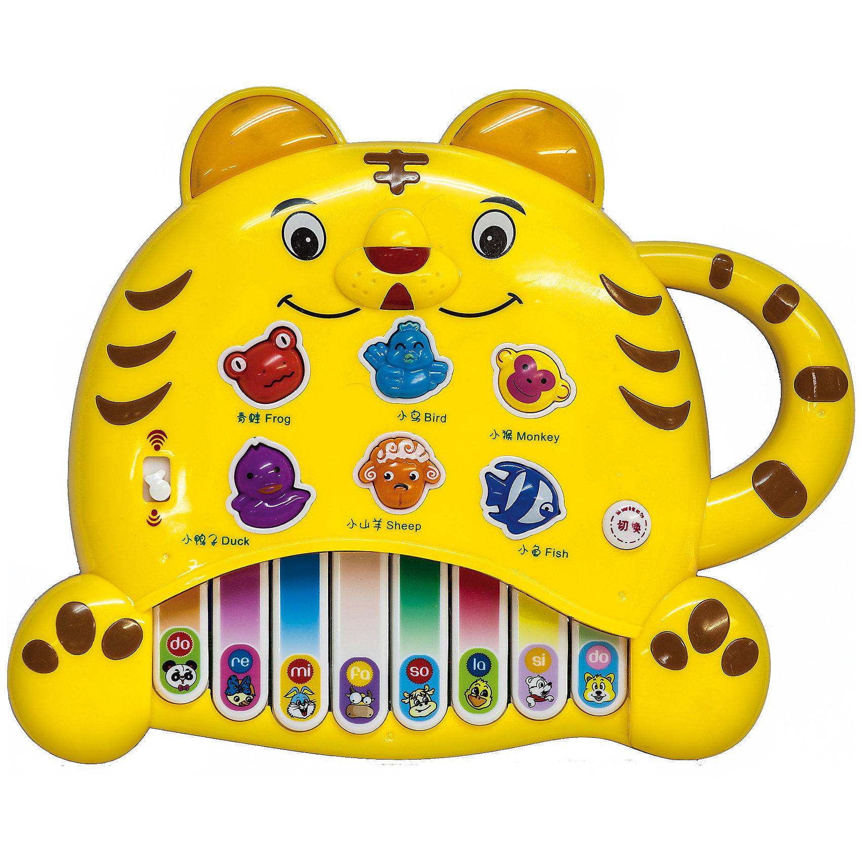 Пианино Тигренок, MOMMY LOVE-ELECTRONICДетские музыкальные инструменты<br>Клавиши пианино Тигренок, MOMMY LOVE-ELECTRONIC помогут малышу выучить гамму. При нажатии на кнопки с изображением животных оно называет животного, воспроизводит его голос и проигрывает веселую мелодию. <br>В каком бы порядке не нажимал ребенок клавиши, у него в любом случае получится хорошая мелодия.<br>Имеется также режим игры: пианино просит ребенка найти животное. Показать, например, овечку или рыбку. Если с первого раза правильный ответ найти не получится – ничего! Игра повторит вопрос еще несколько раз. Ну а потом, в случае «полного провала», обязательно подскажет правильный ответ!<br>Пианино Тигренок, MOMMY LOVE-ELECTRONIC поможет ребенку быстро и легко усвоит простые образы животных, разовьет мелкую моторику, память, воображение, координацию движений.<br><br>Дополнительная информация:<br><br>Размер: 25x25x6 см; <br>Материал: пластик; <br>Питание: 3 батарейки АА;<br><br>Пианино Тигренок, MOMMY LOVE-ELECTRONIC можно купить в нашем магазине.<br><br>Ширина мм: 250<br>Глубина мм: 55<br>Высота мм: 250<br>Вес г: 410<br>Возраст от месяцев: 0<br>Возраст до месяцев: 36<br>Пол: Унисекс<br>Возраст: Детский<br>SKU: 4318190