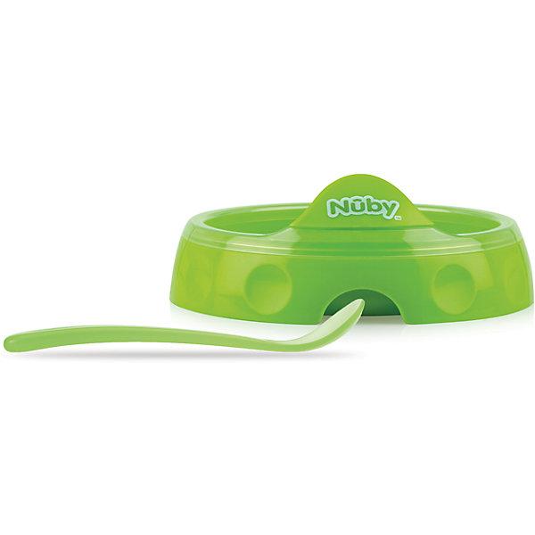 Двухсекционная  тарелка с ложкой, Nuby, зеленыйДетские тарелки<br>Двухсекционная  тарелка с ложкой, Nuby имеет удобное углубление для большого пальца, благодаря которому ее легко удерживать в удобном поожении во время кормления малыша.<br><br>Дополнительная информация:<br><br>В комплекте: двухсекционая тарелка и ложка с длинной ручкой<br>Диаметр тарелки: 17 см<br>Материал: полипропилен<br>Можно мыть в посудомоечной машине<br><br>Двухсекционную  тарелку с ложкой, Nuby (Нуби) зеленую можно купить в нашем магазине.<br>Ширина мм: 75; Глубина мм: 205; Высота мм: 245; Вес г: 223; Цвет: зеленый; Возраст от месяцев: 6; Возраст до месяцев: 36; Пол: Унисекс; Возраст: Детский; SKU: 4318195;