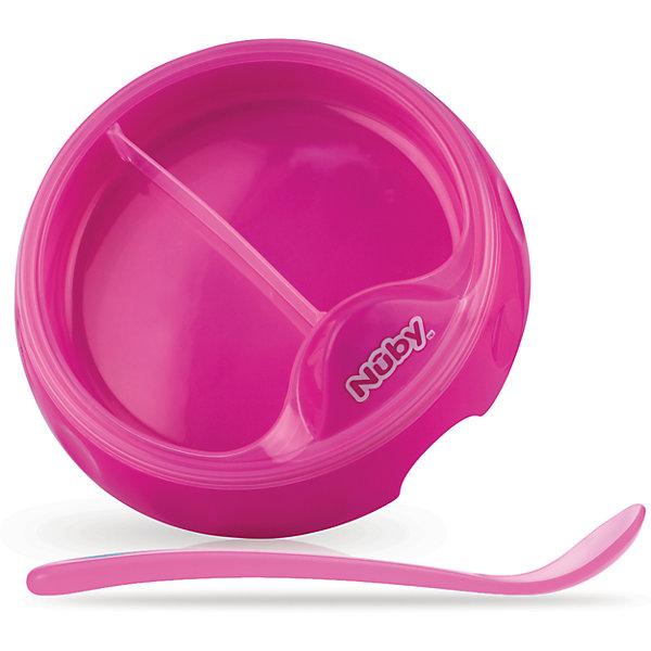 Двухсекционная  тарелка с ложкой, Nuby, розовыйДетские тарелки<br>Двухсекционная  тарелка с ложкой, Nuby имеет удобное углубление для большого пальца, благодаря которому ее легко удерживать в удобном поожении во время кормления малыша.<br><br>Дополнительная информация:<br><br>В комплекте: двухсекционая тарелка и ложка с длинной ручкой<br>Диаметр тарелки: 17 см<br>Материал: полипропилен<br>Можно мыть в посудомоечной машине<br><br>Двухсекционную  тарелку с ложкой, Nuby (Нуби) розовую можно купить в нашем магазине.<br><br>Ширина мм: 75<br>Глубина мм: 205<br>Высота мм: 245<br>Вес г: 223<br>Цвет: розовый<br>Возраст от месяцев: 6<br>Возраст до месяцев: 36<br>Пол: Женский<br>Возраст: Детский<br>SKU: 4318197