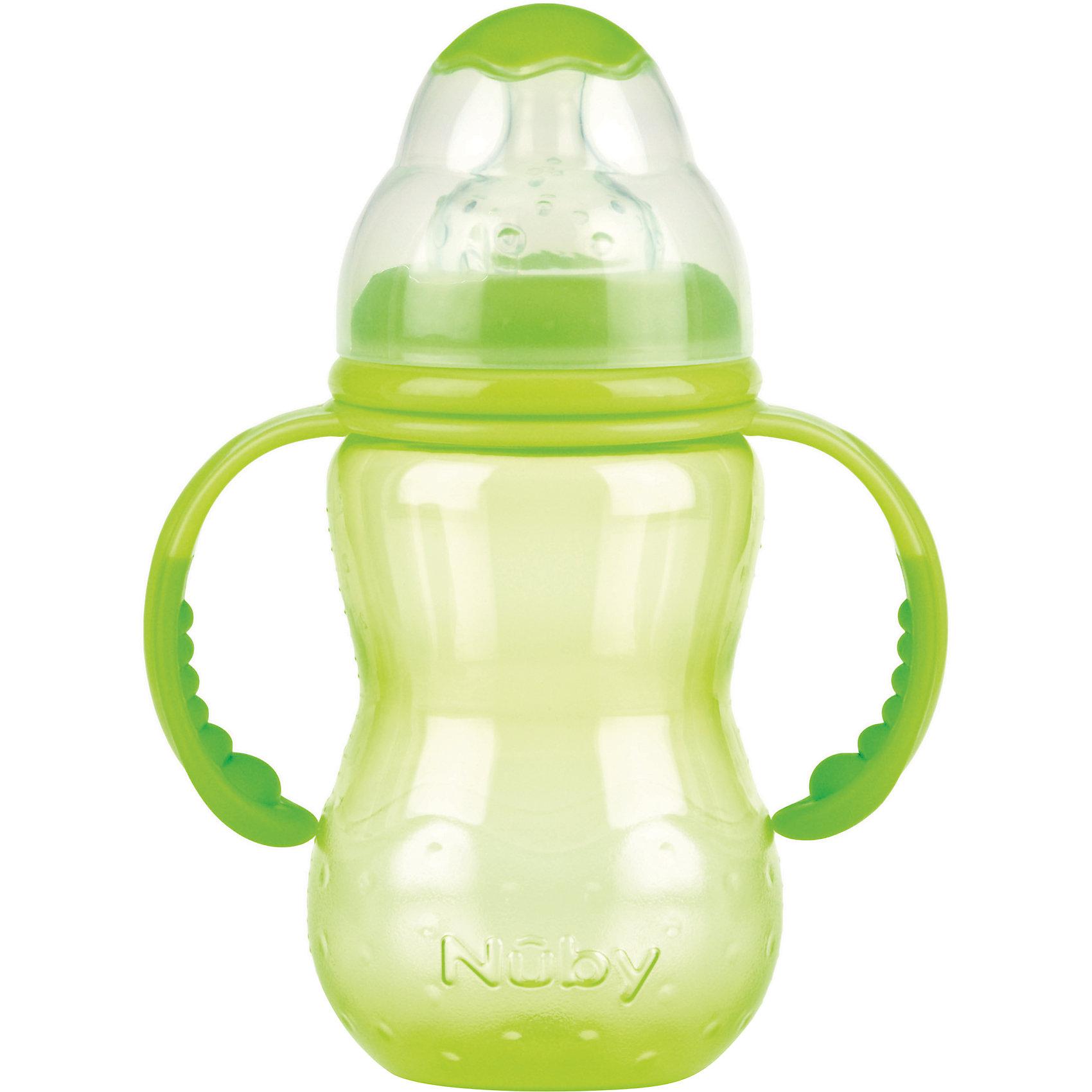 Бутылочка с широким горлом, Nuby, 300 мл., зеленый
