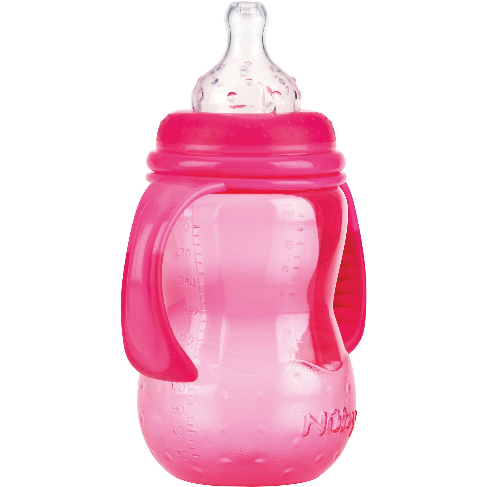 Бутылочка с широким горлом, Nuby, 300 мл., розовыйБутылочки с широким горлом нетрудно наполнять и очищать. Форма такой бутылочки больше соответствует естественной форме материнской груди. Съемные ручки позволяют малышу самостоятельно держать бутылочку, если он хочет.<br>Специальная конструкция соски предотвращает вытекание жидкости. Соска помогает малышу привести скорость питья в соответствие с его индивидуальными потребностями. Чем активнее он пьет, тем больше жидкости поступает из бутылочки – совсем как при сосании материнской груди. Пупырышки соски мягко массируют десны малыша. <br>Материал: полипропилен, не содержит  бисфенол A. <br>Соска: многоцелевая соска для бутылочки с широким горлом, силиконовая<br>Бутылочку с широким горлом 300 мл., Nuby можно купить в нашем интернет-магазине.<br><br>Ширина мм: 75<br>Глубина мм: 125<br>Высота мм: 270<br>Вес г: 130<br>Цвет: розовый<br>Возраст от месяцев: 9<br>Возраст до месяцев: 48<br>Пол: Женский<br>Возраст: Детский<br>SKU: 4318199