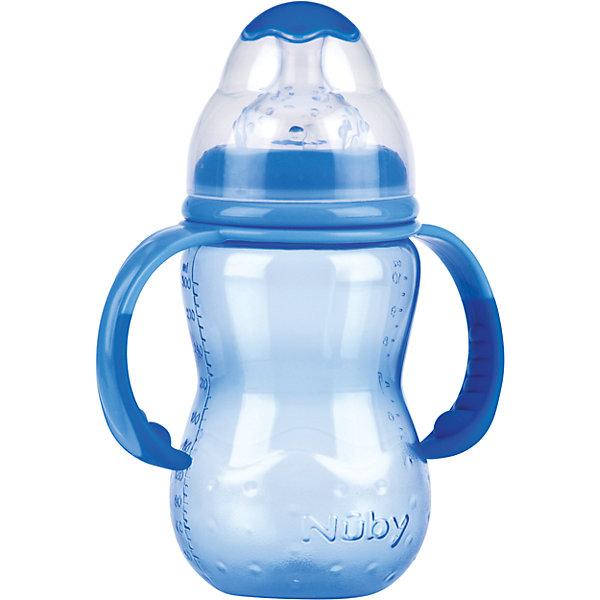 Бутылочка с широким горлом, Nuby, 300 мл., голубой300 - 380 мл.<br>Бутылочки с широким горлом нетрудно наполнять и очищать. Форма такой бутылочки больше соответствует естественной форме материнской груди. Съемные ручки позволяют малышу самостоятельно держать бутылочку, если он хочет.<br>Специальная конструкция соски предотвращает вытекание жидкости. Соска помогает малышу привести скорость питья в соответствие с его индивидуальными потребностями. Чем активнее он пьет, тем больше жидкости поступает из бутылочки – совсем как при сосании материнской груди. Пупырышки соски мягко массируют десны малыша. <br>Материал: полипропилен, не содержит  бисфенол A. <br>Соска: многоцелевая соска для бутылочки с широким горлом, силиконовая<br>Бутылочку с широким горлом 300 мл., Nuby можно купить в нашем интернет-магазине.<br><br>Ширина мм: 75<br>Глубина мм: 125<br>Высота мм: 270<br>Вес г: 130<br>Цвет: голубой<br>Возраст от месяцев: 9<br>Возраст до месяцев: 48<br>Пол: Мужской<br>Возраст: Детский<br>SKU: 4318200