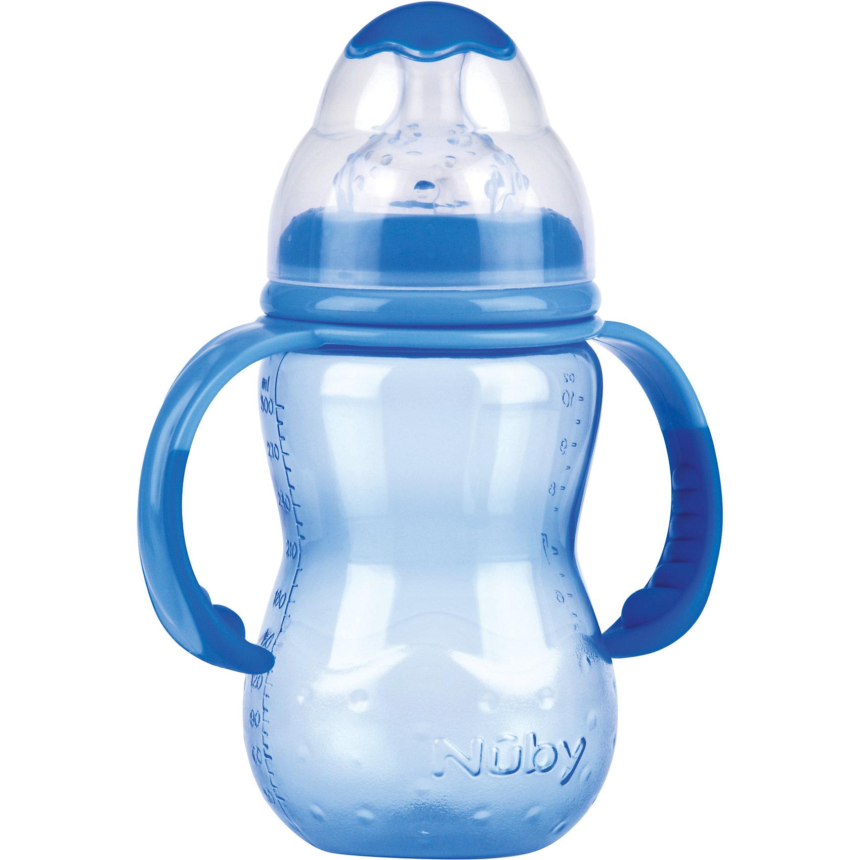 Бутылочка с широким горлом, Nuby, 300 мл., голубойБутылочки с широким горлом нетрудно наполнять и очищать. Форма такой бутылочки больше соответствует естественной форме материнской груди. Съемные ручки позволяют малышу самостоятельно держать бутылочку, если он хочет.<br>Специальная конструкция соски предотвращает вытекание жидкости. Соска помогает малышу привести скорость питья в соответствие с его индивидуальными потребностями. Чем активнее он пьет, тем больше жидкости поступает из бутылочки – совсем как при сосании материнской груди. Пупырышки соски мягко массируют десны малыша. <br>Материал: полипропилен, не содержит  бисфенол A. <br>Соска: многоцелевая соска для бутылочки с широким горлом, силиконовая<br>Бутылочку с широким горлом 300 мл., Nuby можно купить в нашем интернет-магазине.<br><br>Ширина мм: 75<br>Глубина мм: 125<br>Высота мм: 270<br>Вес г: 130<br>Цвет: голубой<br>Возраст от месяцев: 9<br>Возраст до месяцев: 48<br>Пол: Мужской<br>Возраст: Детский<br>SKU: 4318200
