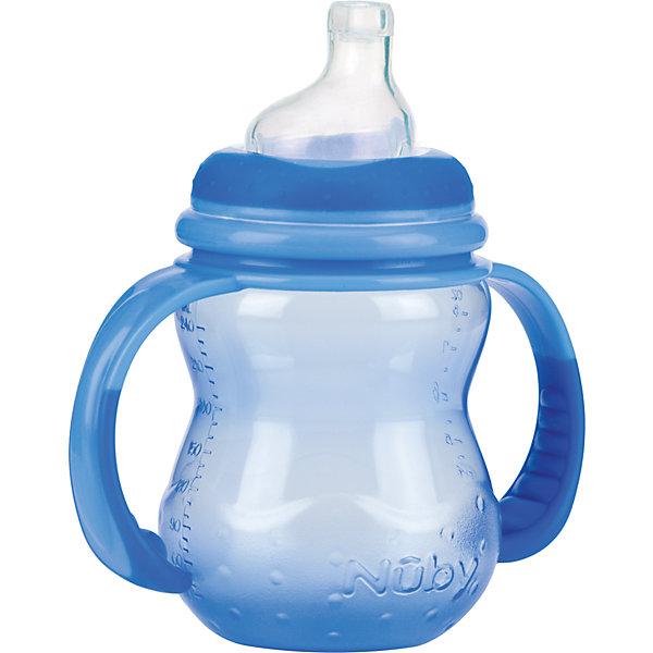 Полипропиленовая бутылочка с ручками, Nuby, 240 мл, голубой210 - 281 мл.<br>Полипропиленовая бутылочка с ручками Nuby, 240 мл.  <br>Подходит для детей с 6 месяцев. Преимущество бутылочки состоит в том, что соска, входящая в комплект, имитирует материнскую грудь, что обеспечивает легкое принятие.  <br>Полипропиленовую бутылочку с ручками  Nuby, 240 мл можно приобрести в нашем интернет-магазине.<br><br>Ширина мм: 80<br>Глубина мм: 125<br>Высота мм: 130<br>Вес г: 104<br>Цвет: голубой<br>Возраст от месяцев: 6<br>Возраст до месяцев: 12<br>Пол: Мужской<br>Возраст: Детский<br>SKU: 4318203