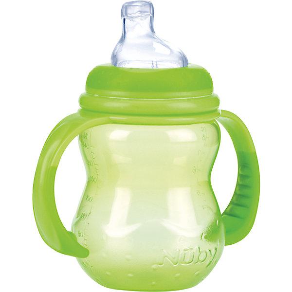 Полипропиленовая бутылочка с ручками, Nuby, 240 мл, зеленый