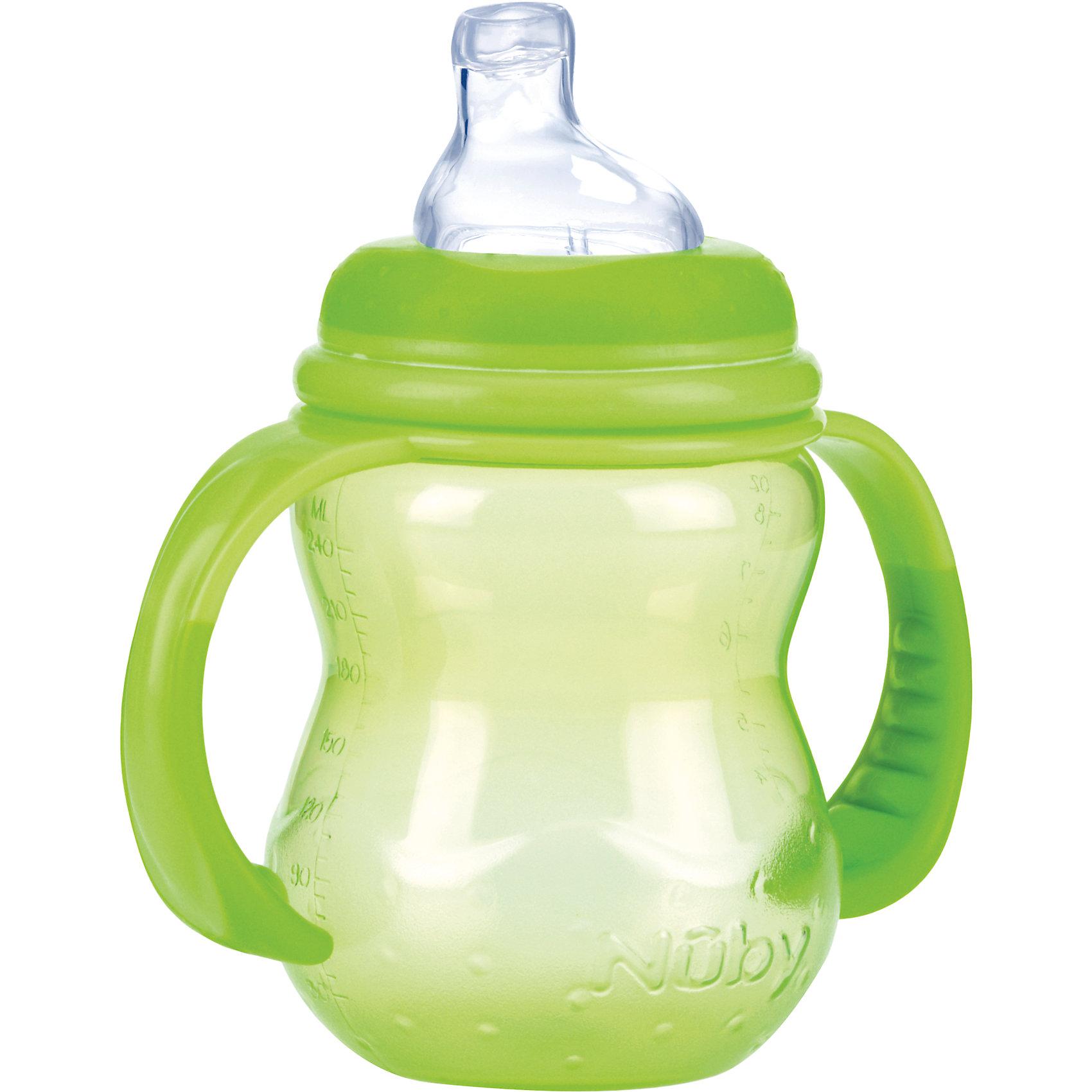 Полипропиленовая бутылочка с ручками, Nuby, 240 мл, зеленый210 - 281 мл.<br>Полипропиленовая бутылочка с ручками Nuby, 240 мл.  <br>Подходит для детей с 06 месяцев. Преимущество бутылочки состоит в том, что соска, входящая в комплект, имитирует материнскую грудь, что обеспечивает легкое принятие.  <br>Полипропиленовую бутылочку с ручками  Nuby, 240 мл можно приобрести в нашем интернет-магазине.<br><br>Ширина мм: 80<br>Глубина мм: 125<br>Высота мм: 130<br>Вес г: 104<br>Цвет: зеленый<br>Возраст от месяцев: 6<br>Возраст до месяцев: 12<br>Пол: Унисекс<br>Возраст: Детский<br>SKU: 4318205