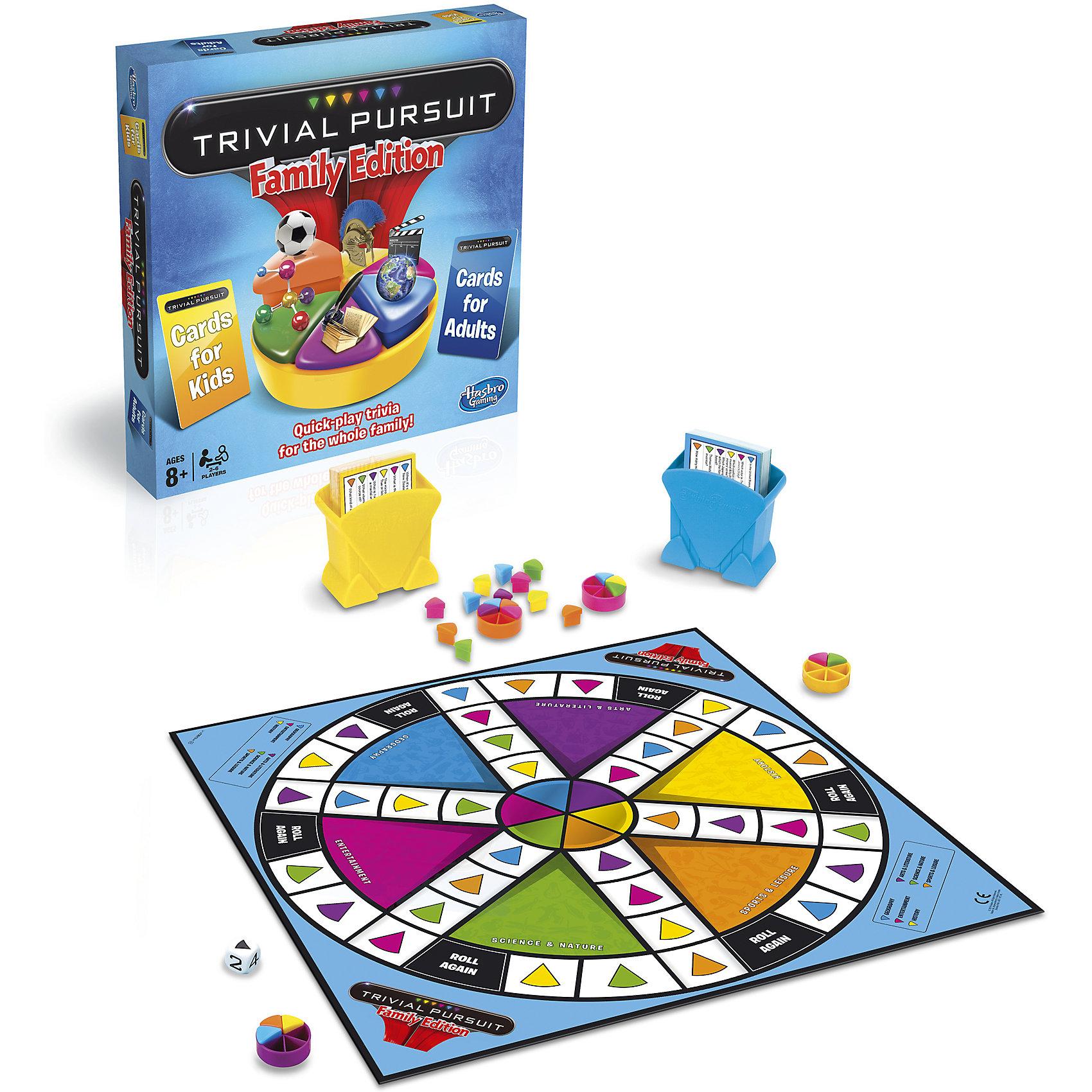 Семейная игра Тривиал Персьюит, HasbroИгры для развлечений<br>Семейная игра Тривиал Персьюит, Hasbro (Хасбро) – это увлекательнейшее интеллектуальное развлечение для всех семьи.<br>Игра Тривиал Персьюит - это еще один повод собрать всю семью вместе и весело и с пользой провести время. Теперь дети могут сразиться с родителями в интеллектуальном поединке. 2400 вопросов обо всем на свете гарантируют веселый и познавательный вечер. Вопросы разделены на 6 категорий: география, развлечения, история, искусство и литература, наука и природа, спорт и отдых. Чтобы игра была честной вопросы разделены по сложности на детские и вопросы для родителей. Теперь все узнают, кто в вашей семье самый умный! Играйте по одному или в командах, по очереди перемещая фишку по игровой доске и получая разноцветные дольки за правильные ответы на вопросы.<br><br>Дополнительная информация:<br><br>- В наборе: игровая доска, 400 карточек с вопросами(200 голубых карточек для взрослых и 200 желтых карточек для детей), 2 держателя для карточек, 6 фишек, 36 долек, игральный кубик, правила игры<br>- Материал: картон, пластик<br>- Размер упаковки: 5,3 х 26,9 х 26,9 см.<br>- Вес: 1300 гр.<br><br>Семейную игру Тривиал Персьюит, Hasbro можно купить в нашем интернет-магазине.<br><br>Ширина мм: 53<br>Глубина мм: 269<br>Высота мм: 269<br>Вес г: 1300<br>Возраст от месяцев: 96<br>Возраст до месяцев: 192<br>Пол: Унисекс<br>Возраст: Детский<br>SKU: 4318492