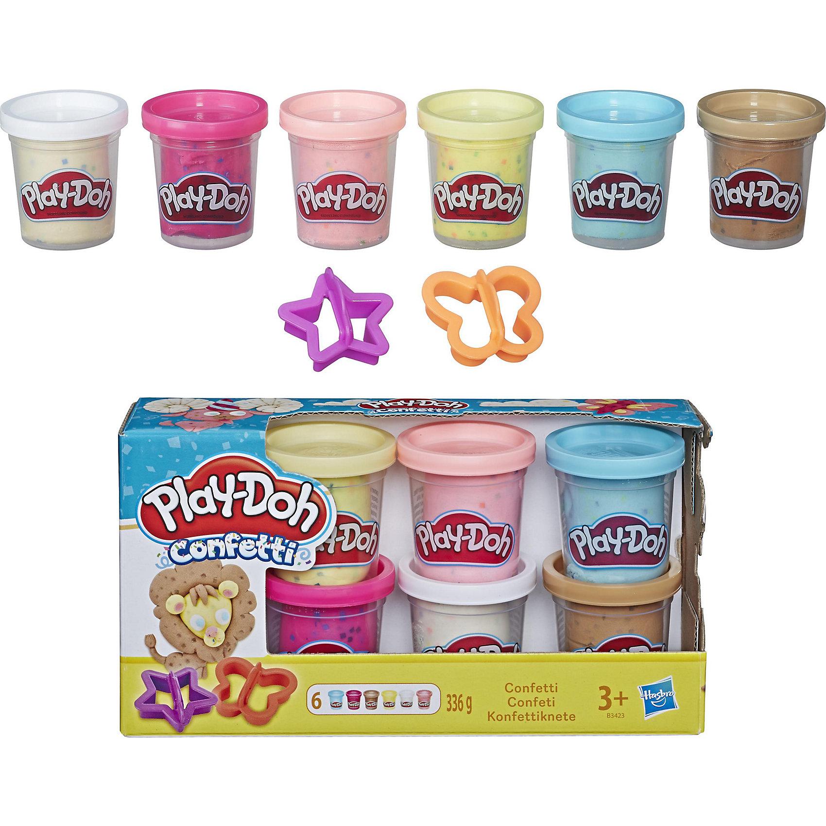 Набор из 6 баночек с конфетти, Play-DohЛепка<br>Набор из 6 баночек с конфетти, Play-Doh, поможет Вашему ребенку реализовать свои творческие фантазии и создать свой собственный сказочный мир. В наборе шесть баночек разноцветного пластилина и две формочки в виде бабочки и звездочки. Пластилин полностью безопасен для детей, не липнет к рукам и не пачкает одежду. Легко принимает любую форму и быстро высыхает. Особенность этого пластилина в том, что в состав массы для лепки входят хлопья конфетти. Такая необычная текстура делает пластилин ярким и необычным, а поделки из него еще более эффектными. Разные цвета пластилина легко смешиваются между собой, создавая новые оттенки. Занятия лепкой развивают у ребенка фантазию, творческие способности и объемное воображение, тренируют координацию движений и мелкую моторику.<br><br>Дополнительная информация:<br><br>- В комплекте: 6 баночек Play-Doh Confetti, 2 формочки.<br>- Размер упаковки: 21 х 6 х 11 см.<br>- Вес: 0,336 кг.<br><br>Набор из 6 баночек с конфетти, Play-Doh (Плей-До), можно купить в нашем интернет-магазине.<br><br>Ширина мм: 212<br>Глубина мм: 116<br>Высота мм: 60<br>Вес г: 471<br>Возраст от месяцев: 36<br>Возраст до месяцев: 72<br>Пол: Унисекс<br>Возраст: Детский<br>SKU: 4319030