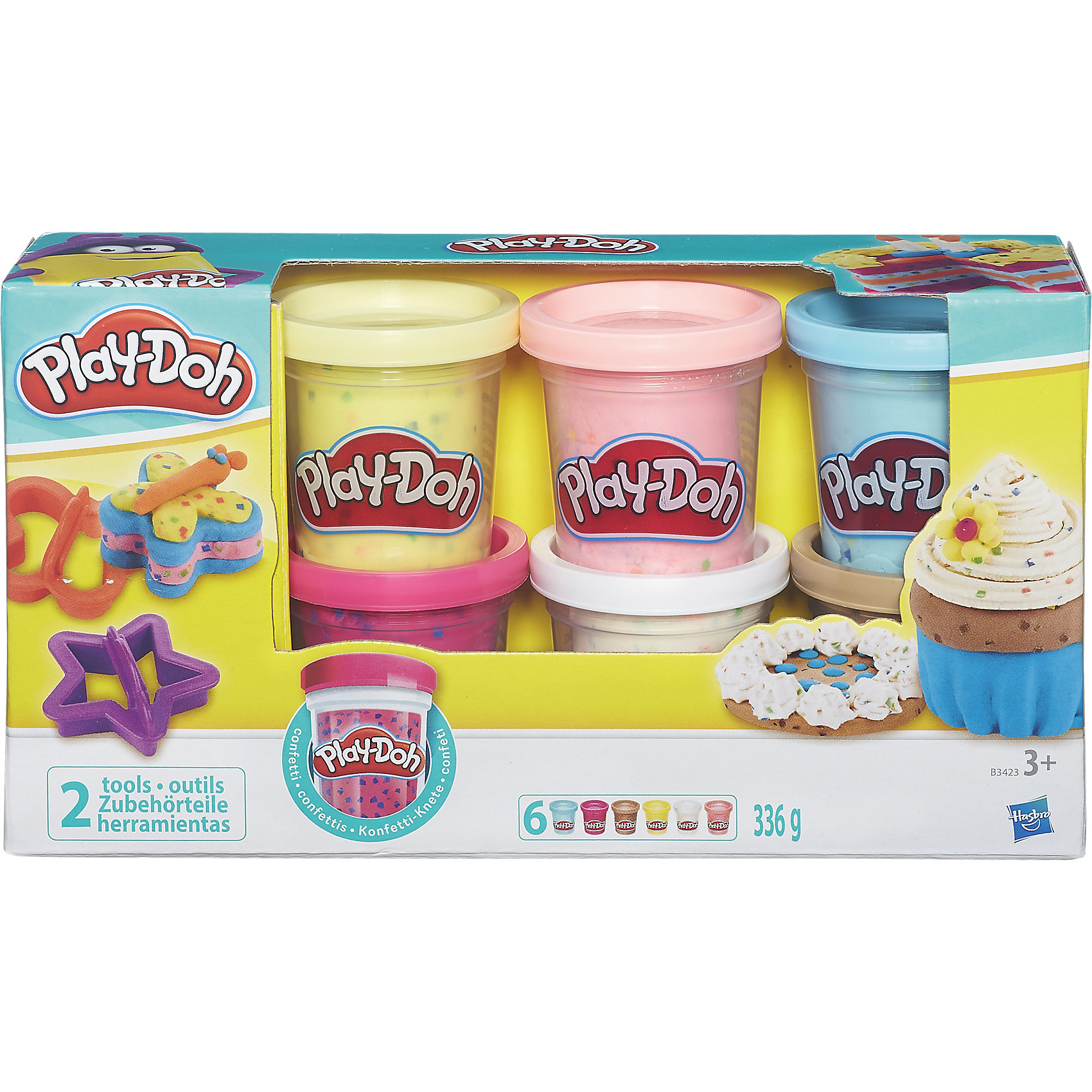 Hasbro Набор из 6 баночек с конфетти, Play-Doh hasbro play doh b5517 игровой набор из 4 баночек в ассортименте обновлённый