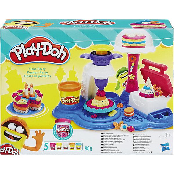 Игровой набор Сладкая вечеринка, Play-DohФигурки из мультфильмов<br>Игровой набор Play-Doh - это множество приспособлений и формочек, благодаря которым ваш ребенок сможет устроить свою сладкую вечеринку! Комплект предназначен для лепки тортов и пирожных, а какой именно у сладостей будет дизайн, зависит только от фантазии юного творца.  <br>Пластилин Play-Doh - уникальный материал для детского творчества. Он не прилипает к рукам, окрашен безопасным красителем, быстро высыхает и не имеет запаха. Пластилин сделан на основе натуральных съедобных продуктов, поэтому даже если ребенок проглотит его, ничего страшного не случится. <br><br>Дополнительная информация:<br><br>- Материал: пластик, пластилин.<br>- Размер упаковки: 21,5х28,8х8 см.<br>- Комплектация: чудо-печка, подставка для угощений, экструдер, вилка, ножик, шпатель, резак и подносы, 5 баночек play-doh.<br><br>Игровой набор Сладкая вечеринка, Play-Doh (Плей До), можно купить в нашем магазине.<br><br>Ширина мм: 283<br>Глубина мм: 218<br>Высота мм: 81<br>Вес г: 821<br>Возраст от месяцев: 36<br>Возраст до месяцев: 72<br>Пол: Женский<br>Возраст: Детский<br>SKU: 4319032