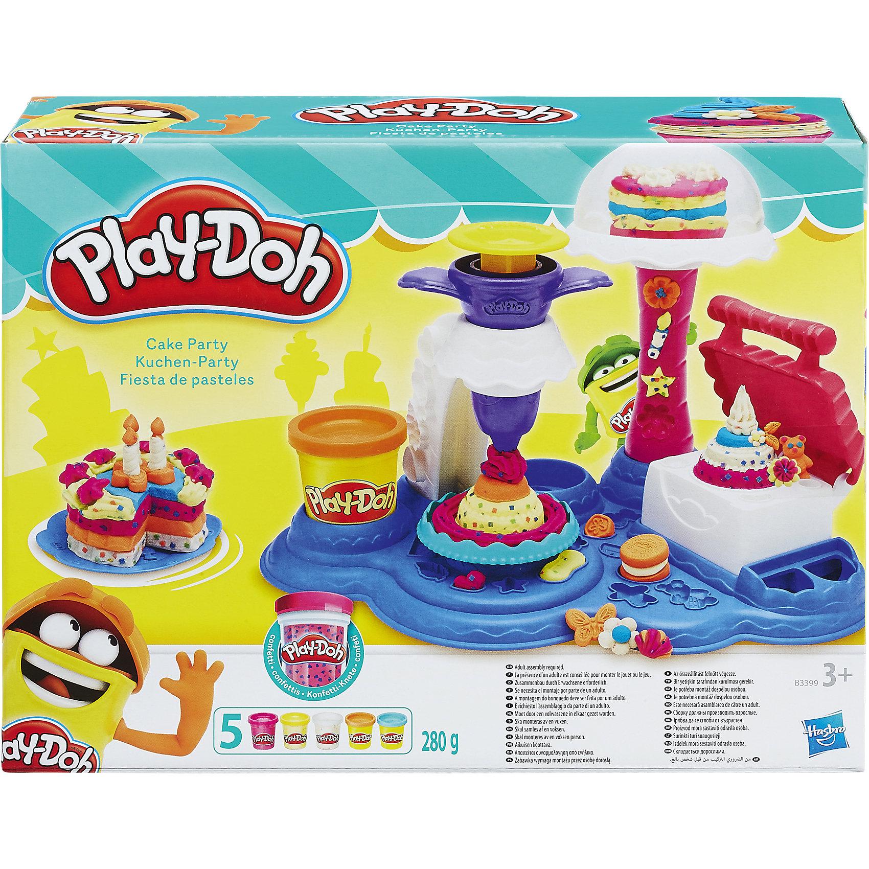 Игровой набор Сладкая вечеринка, Play-DohНаборы для лепки<br>Игровой набор Play-Doh - это множество приспособлений и формочек, благодаря которым ваш ребенок сможет устроить свою сладкую вечеринку! Комплект предназначен для лепки тортов и пирожных, а какой именно у сладостей будет дизайн, зависит только от фантазии юного творца.  <br>Пластилин Play-Doh - уникальный материал для детского творчества. Он не прилипает к рукам, окрашен безопасным красителем, быстро высыхает и не имеет запаха. Пластилин сделан на основе натуральных съедобных продуктов, поэтому даже если ребенок проглотит его, ничего страшного не случится. <br><br>Дополнительная информация:<br><br>- Материал: пластик, пластилин.<br>- Размер упаковки: 21,5х28,8х8 см.<br>- Комплектация: чудо-печка, подставка для угощений, экструдер, вилка, ножик, шпатель, резак и подносы, 5 баночек play-doh.<br><br>Игровой набор Сладкая вечеринка, Play-Doh (Плей До), можно купить в нашем магазине.<br><br>Ширина мм: 283<br>Глубина мм: 218<br>Высота мм: 81<br>Вес г: 821<br>Возраст от месяцев: 36<br>Возраст до месяцев: 72<br>Пол: Женский<br>Возраст: Детский<br>SKU: 4319032